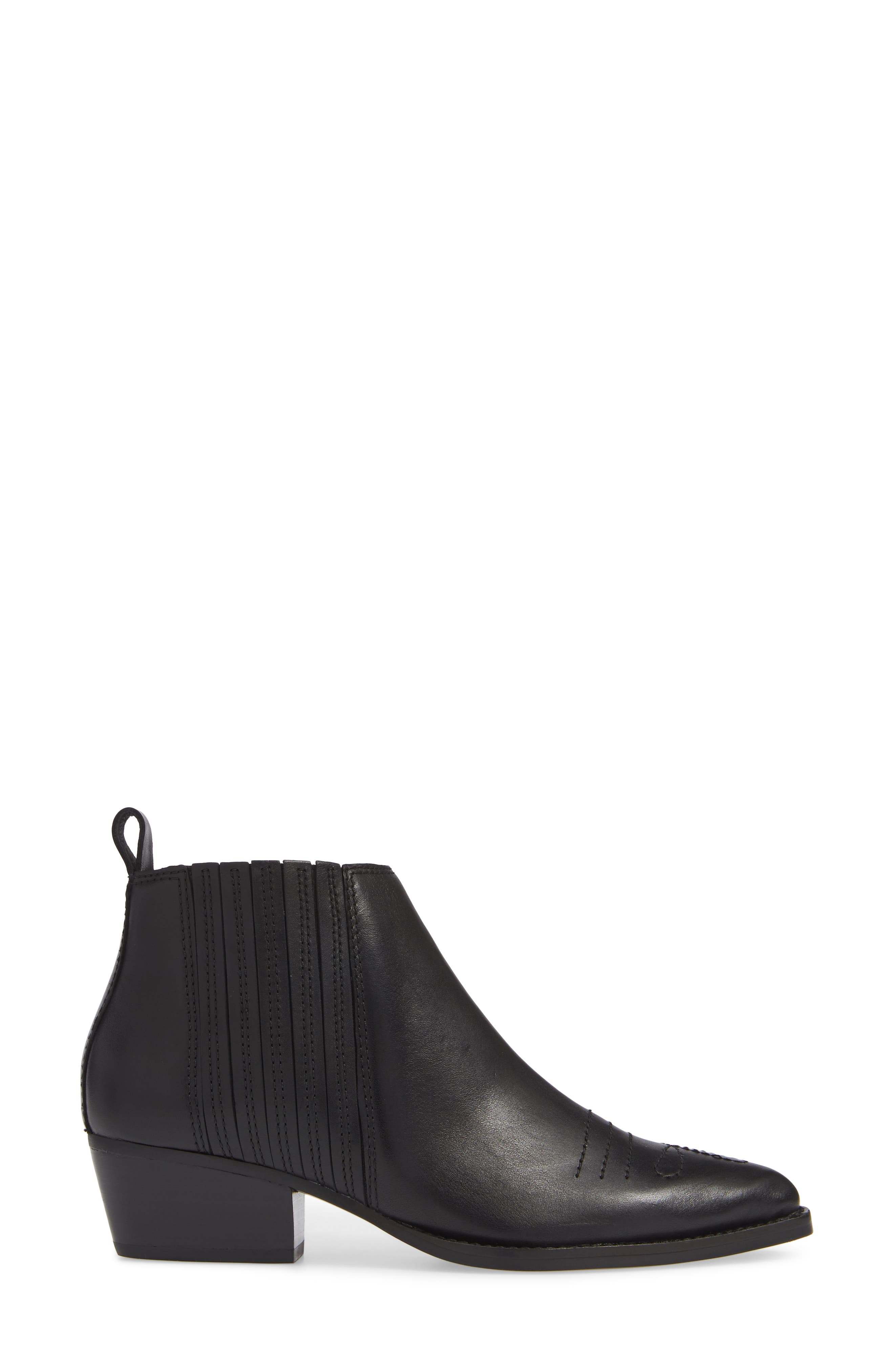 Texas Bootie,                             Alternate thumbnail 3, color,                             BLACK LEATHER