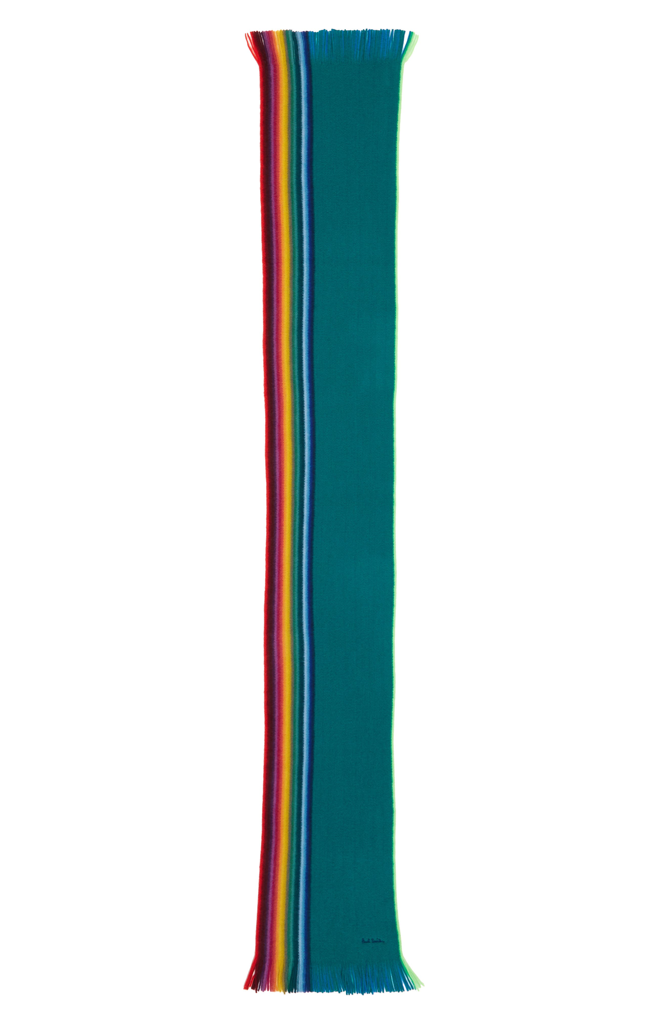 Rainbow Edge Wool Scarf,                             Alternate thumbnail 7, color,