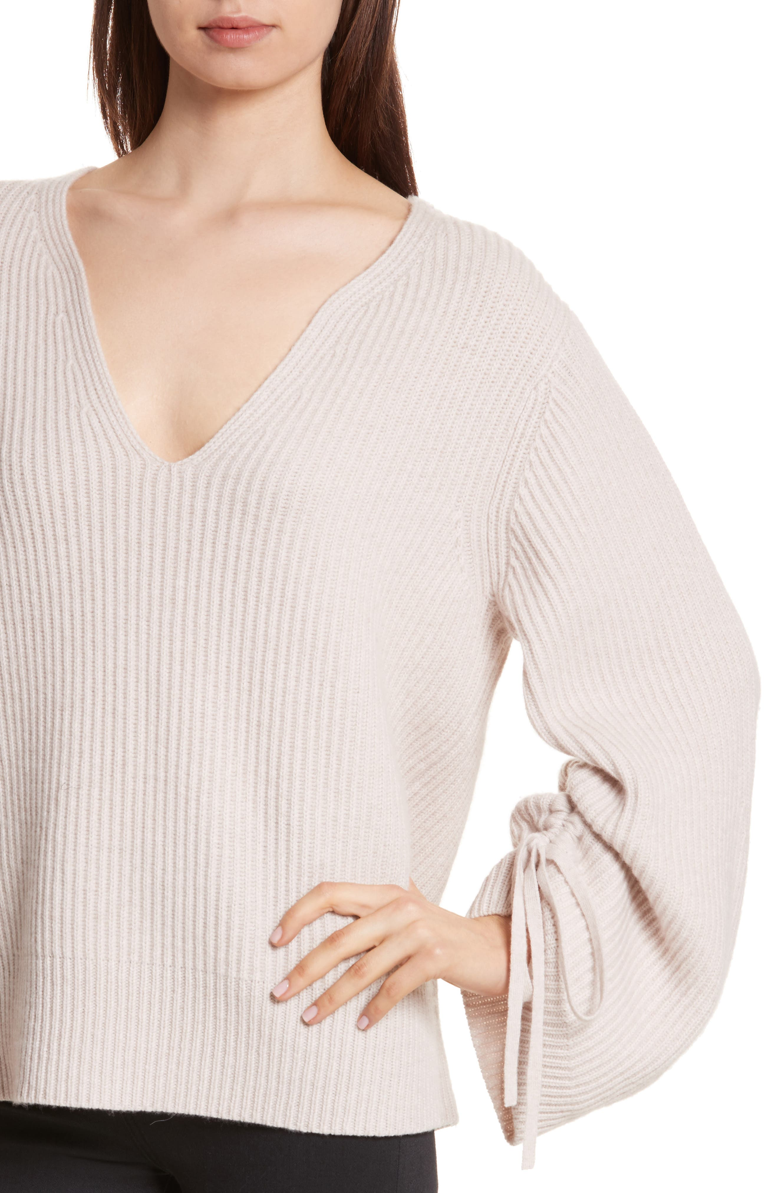 Anneka Wool & Cashmere Puff Sleeve Sweater,                             Alternate thumbnail 4, color,                             270