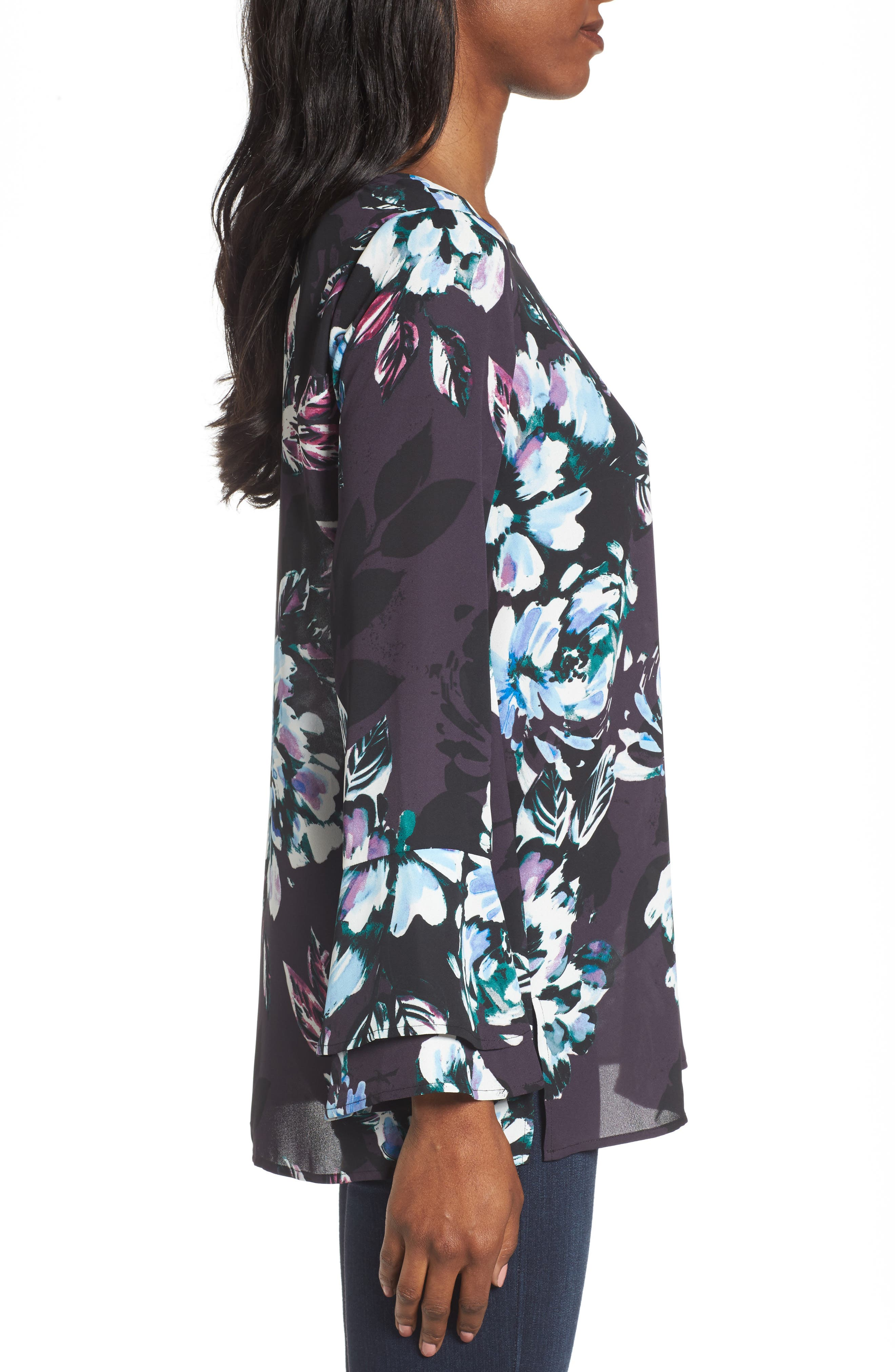 Twilight Blooms Bell Sleeve Blouse,                             Alternate thumbnail 3, color,