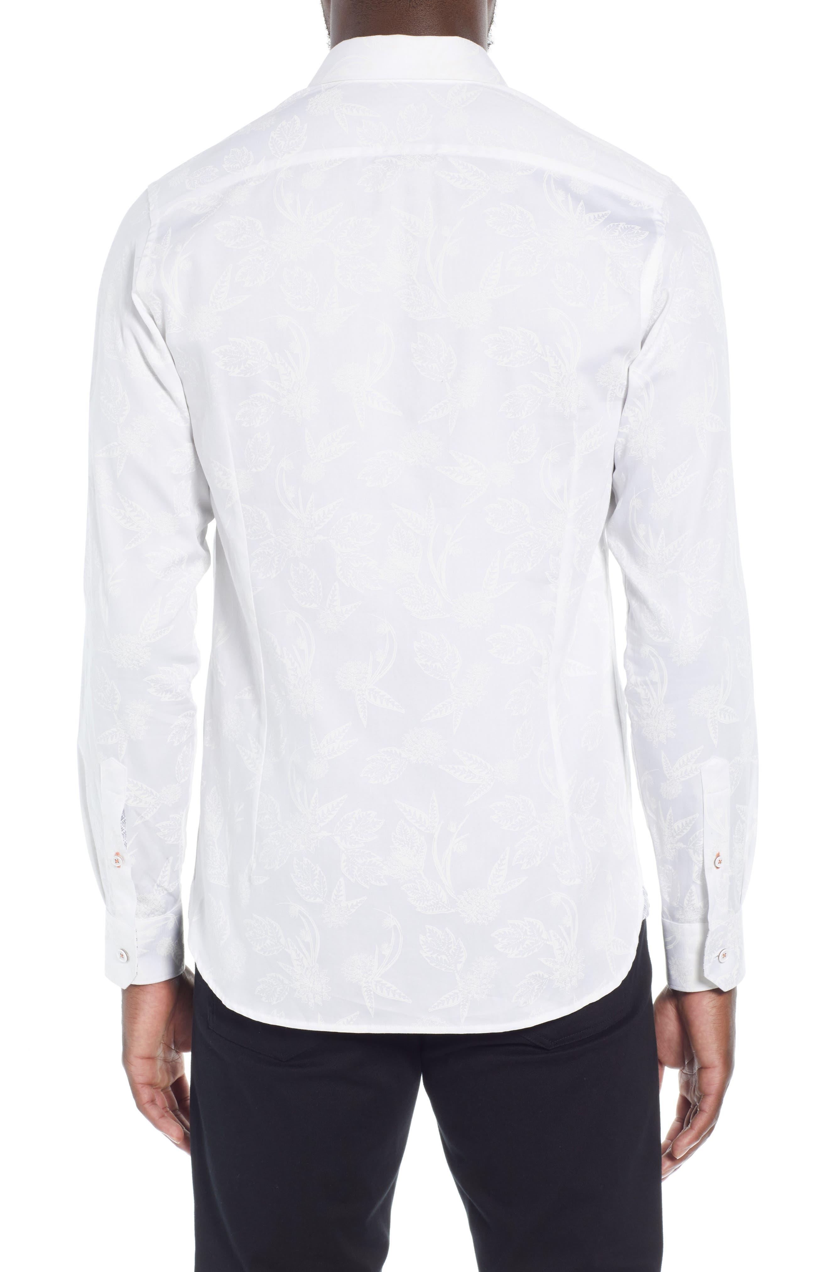 Holborn Trim Fit Print Sport Shirt,                             Alternate thumbnail 3, color,                             WHITE