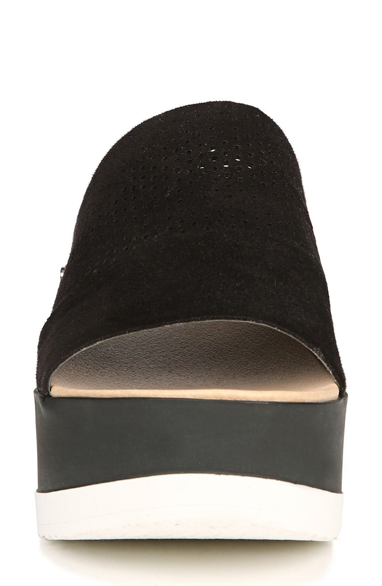 Collins Platform Sandal,                             Alternate thumbnail 4, color,                             BLACK FABRIC