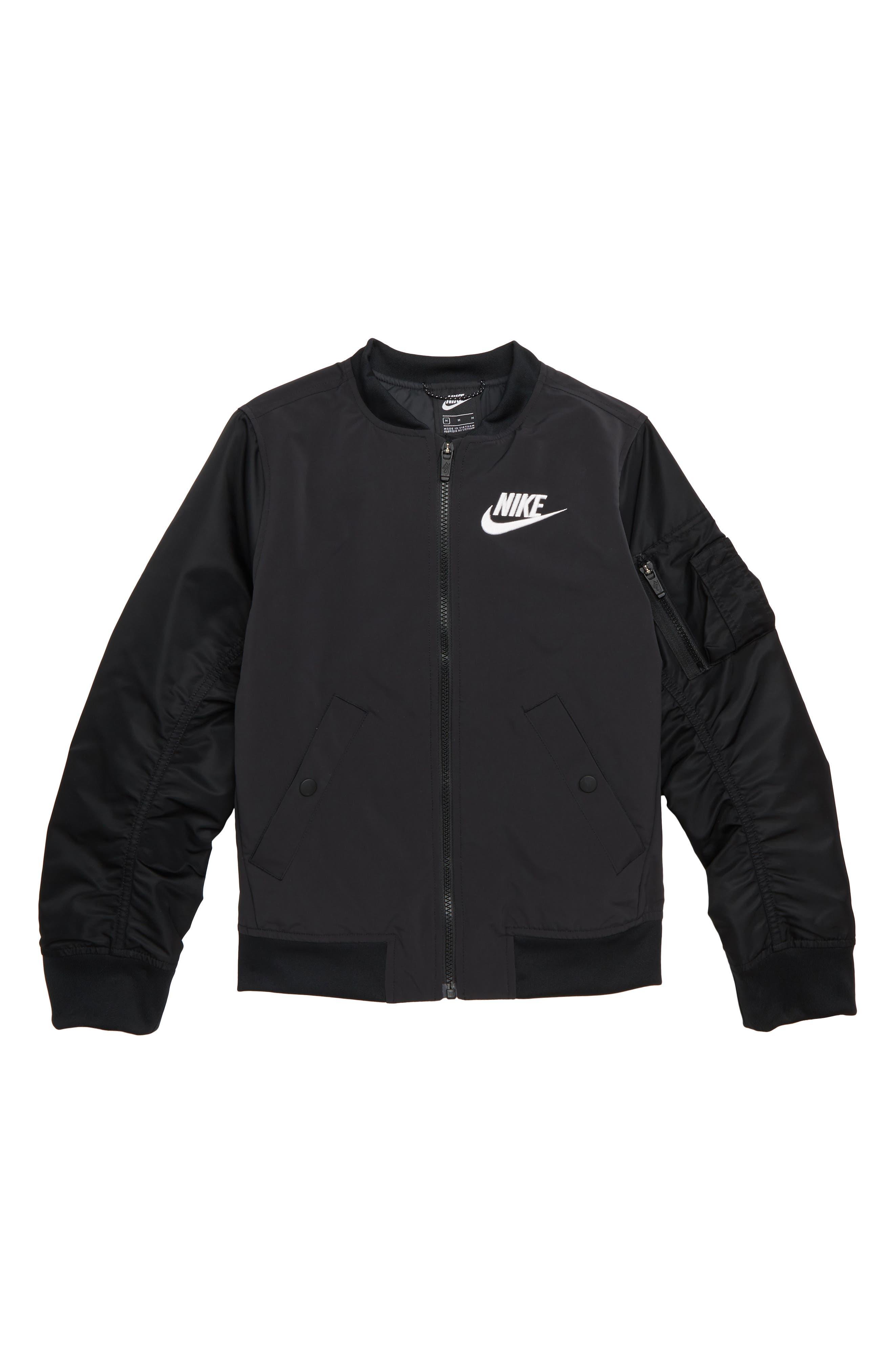 Sportswear Varsity Jacket,                             Main thumbnail 1, color,                             BLACK/ BLACK