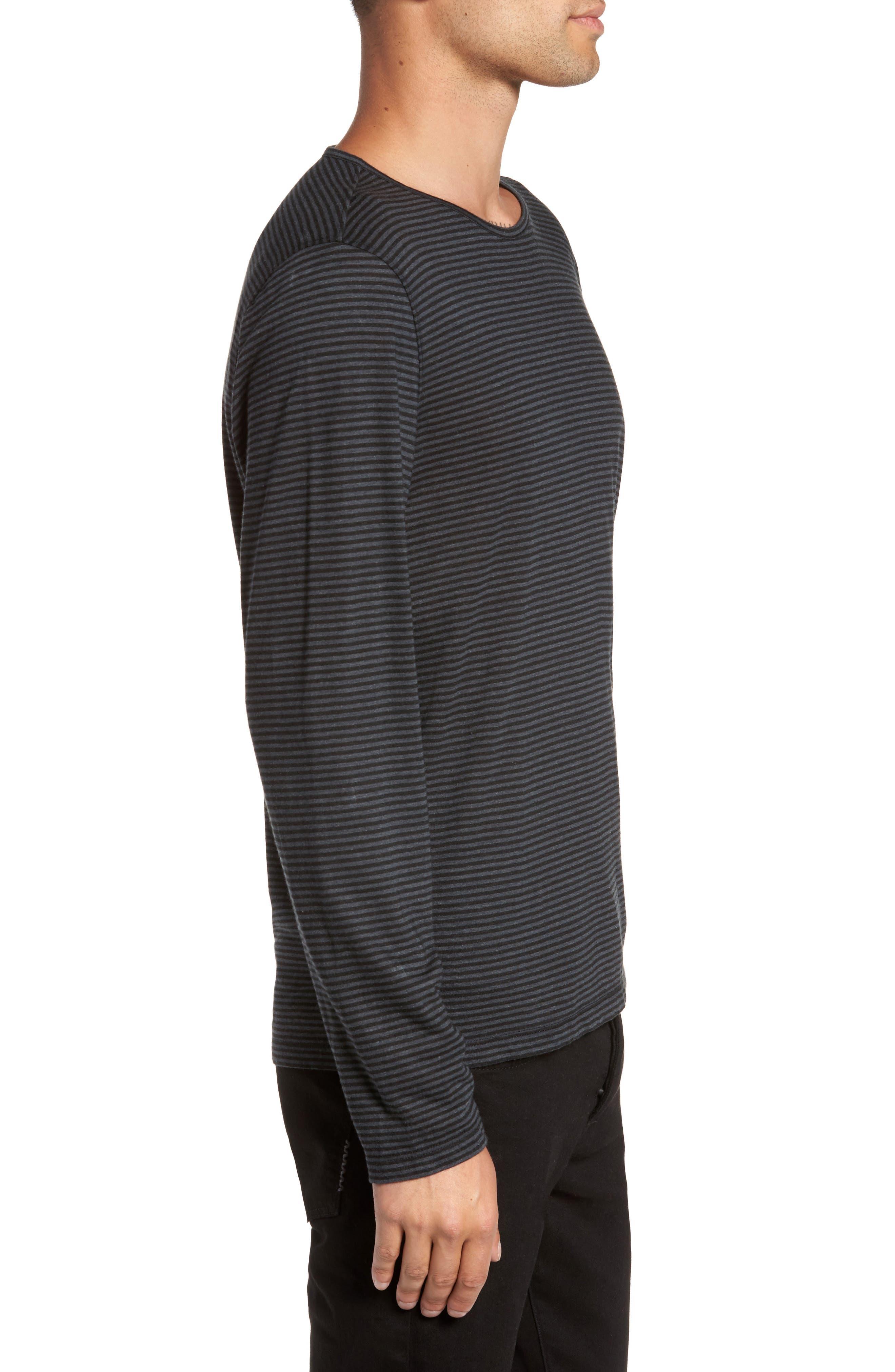 Stripe Long Sleeve T-Shirt,                             Alternate thumbnail 3, color,                             001