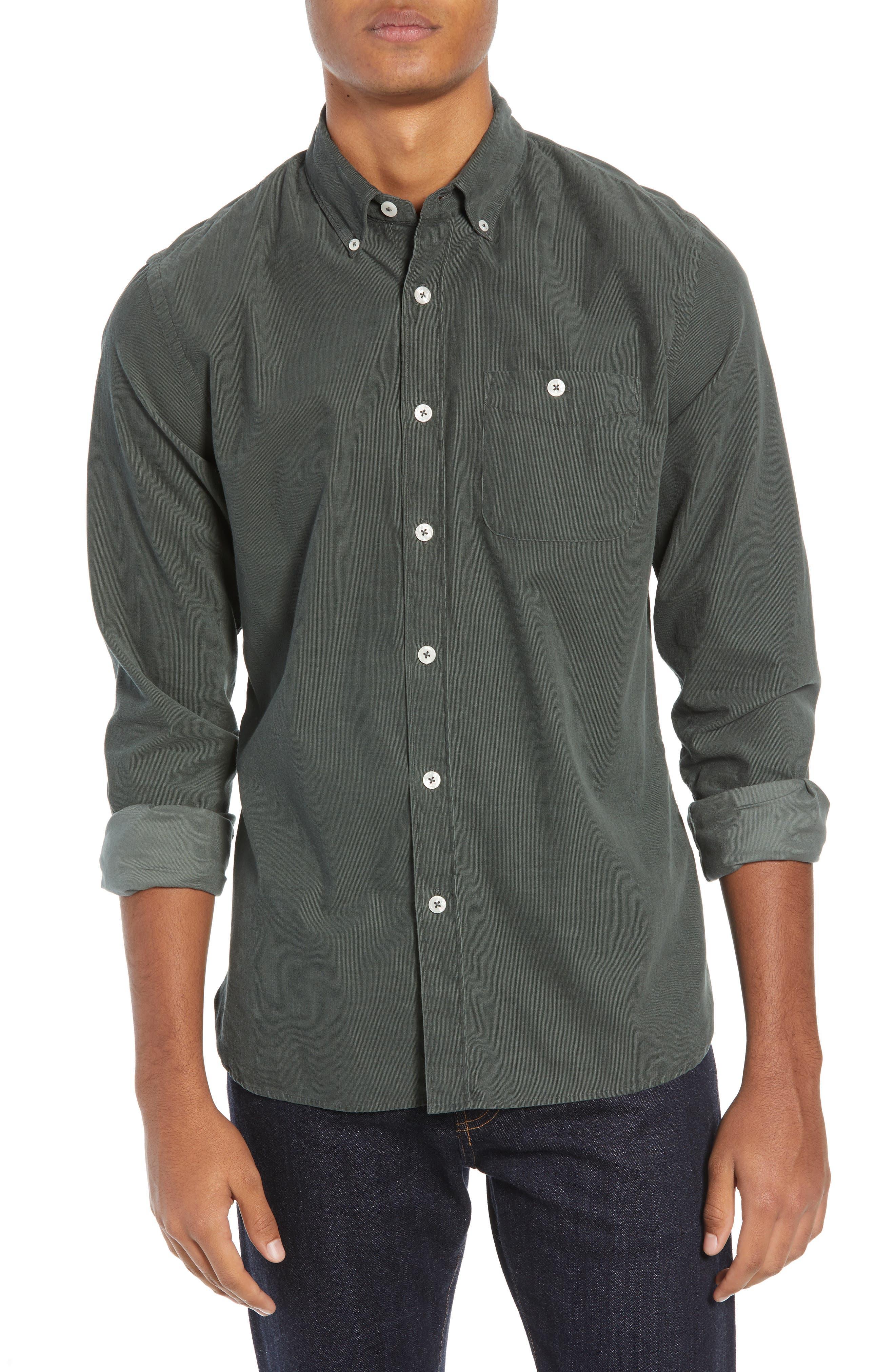 TODD SNYDER Micro Corduroy Regular Fit Sport Shirt in Sage