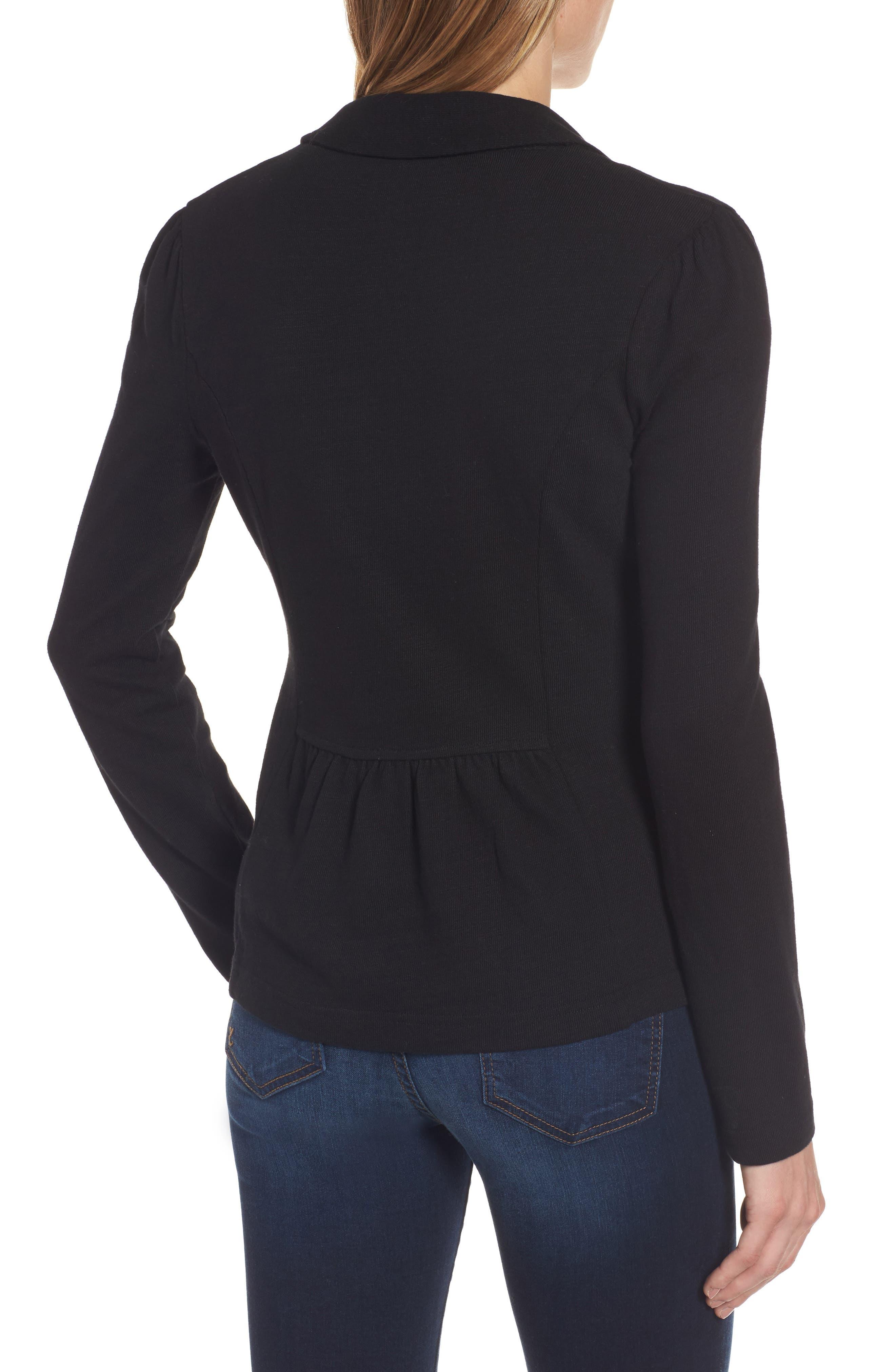 CASLON<SUP>®</SUP>,                             Knit One-Button Blazer,                             Alternate thumbnail 2, color,                             BLACK