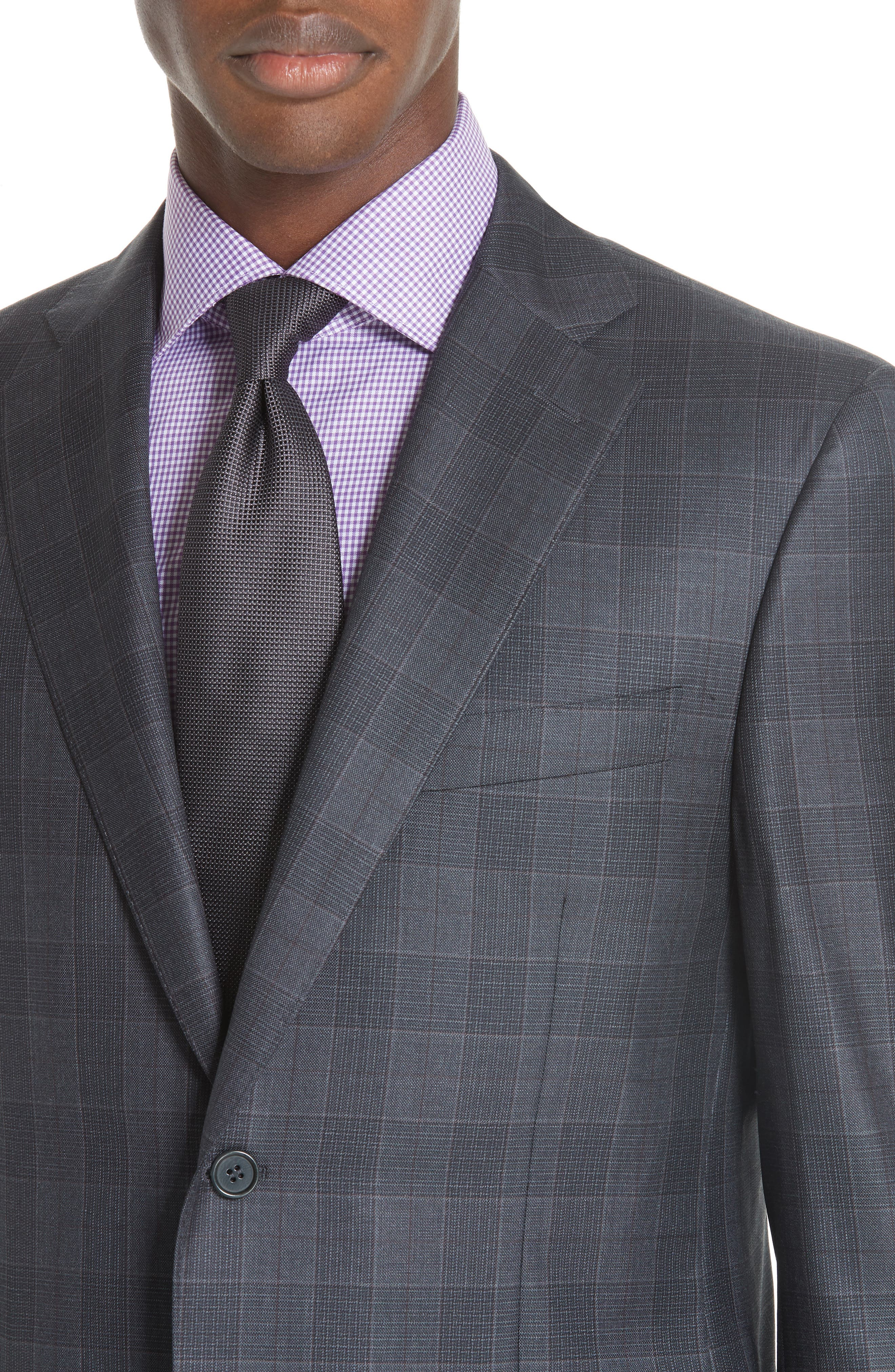 Classic Fit Plaid Wool Suit,                             Alternate thumbnail 4, color,                             CHARCOAL