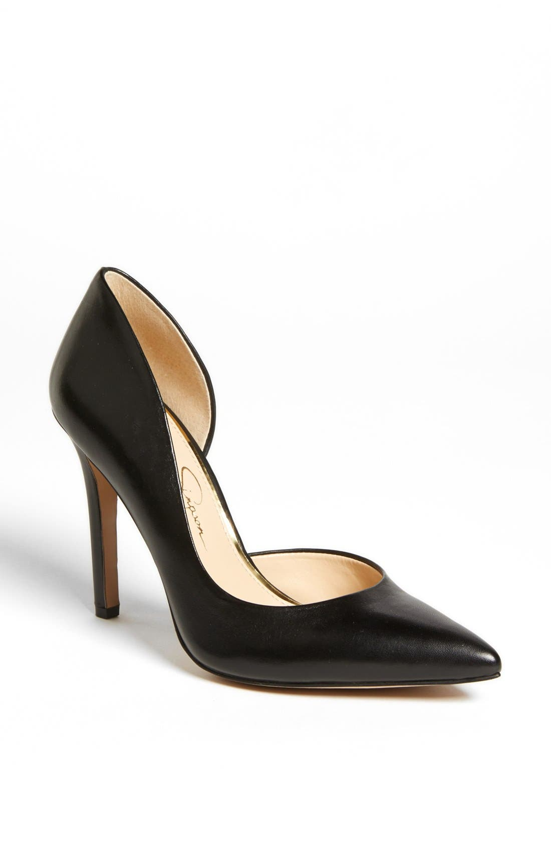 JESSICA SIMPSON,                             'Claudette' Half d'Orsay Pump,                             Main thumbnail 1, color,                             001