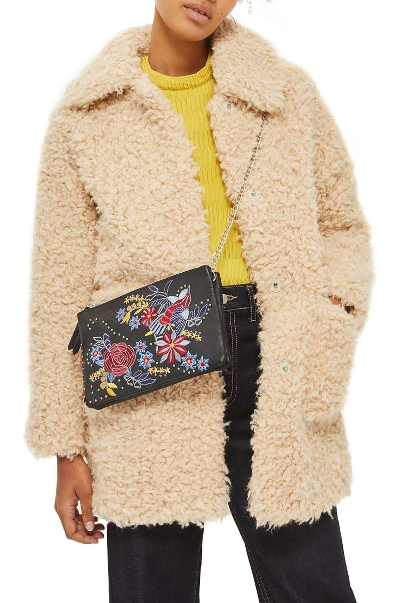 Ester Embroidered Leather Shoulder Bag,                             Alternate thumbnail 2, color,                             001