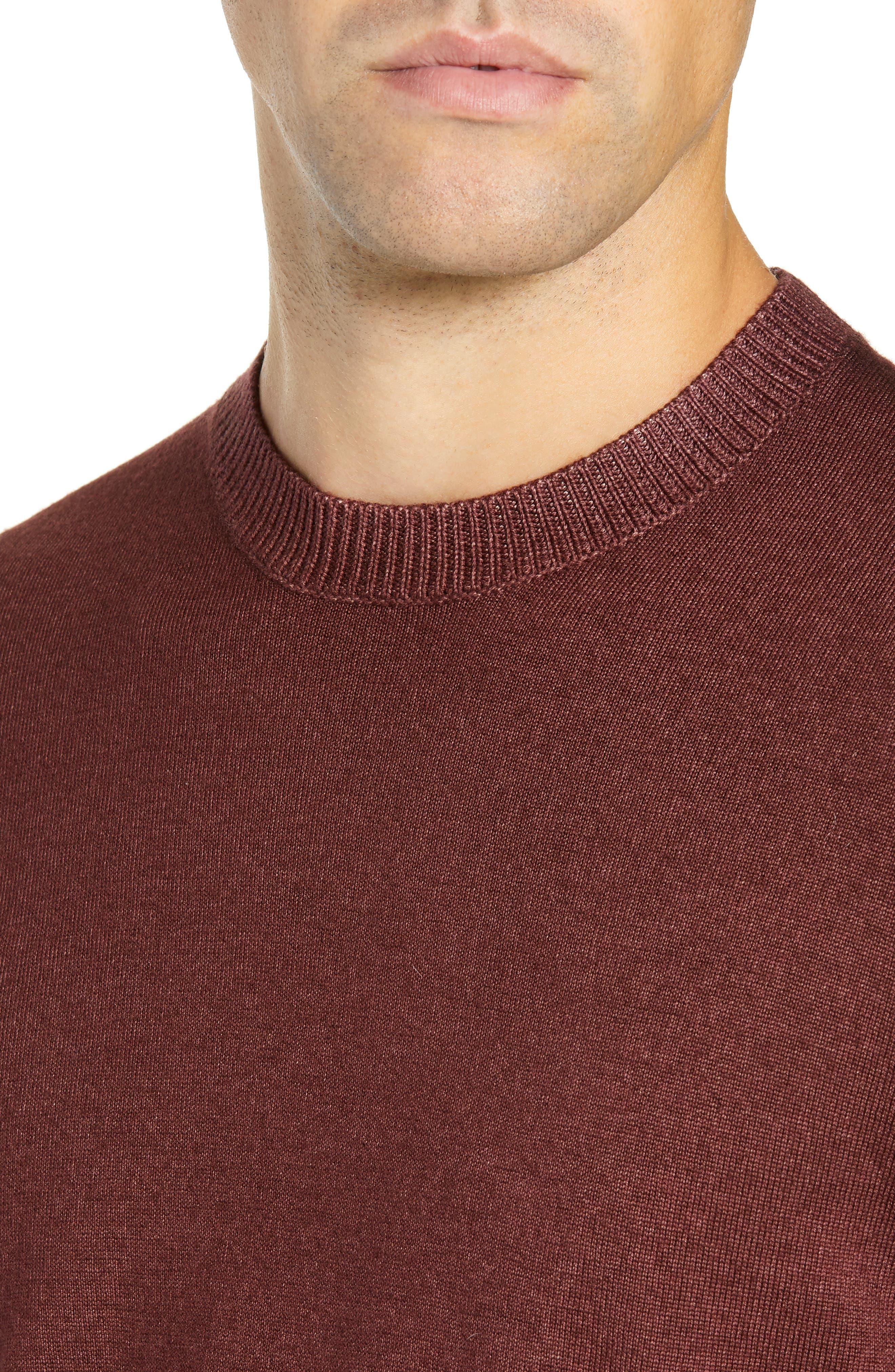 Trim Fit Newab Garment Dyed Wool Sweater,                             Alternate thumbnail 4, color,                             MAROON