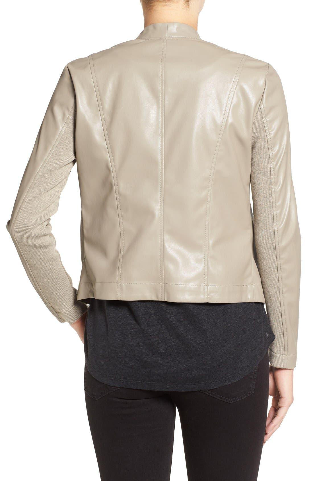 'Peppin' Drape Front Faux Leather Jacket,                             Alternate thumbnail 15, color,