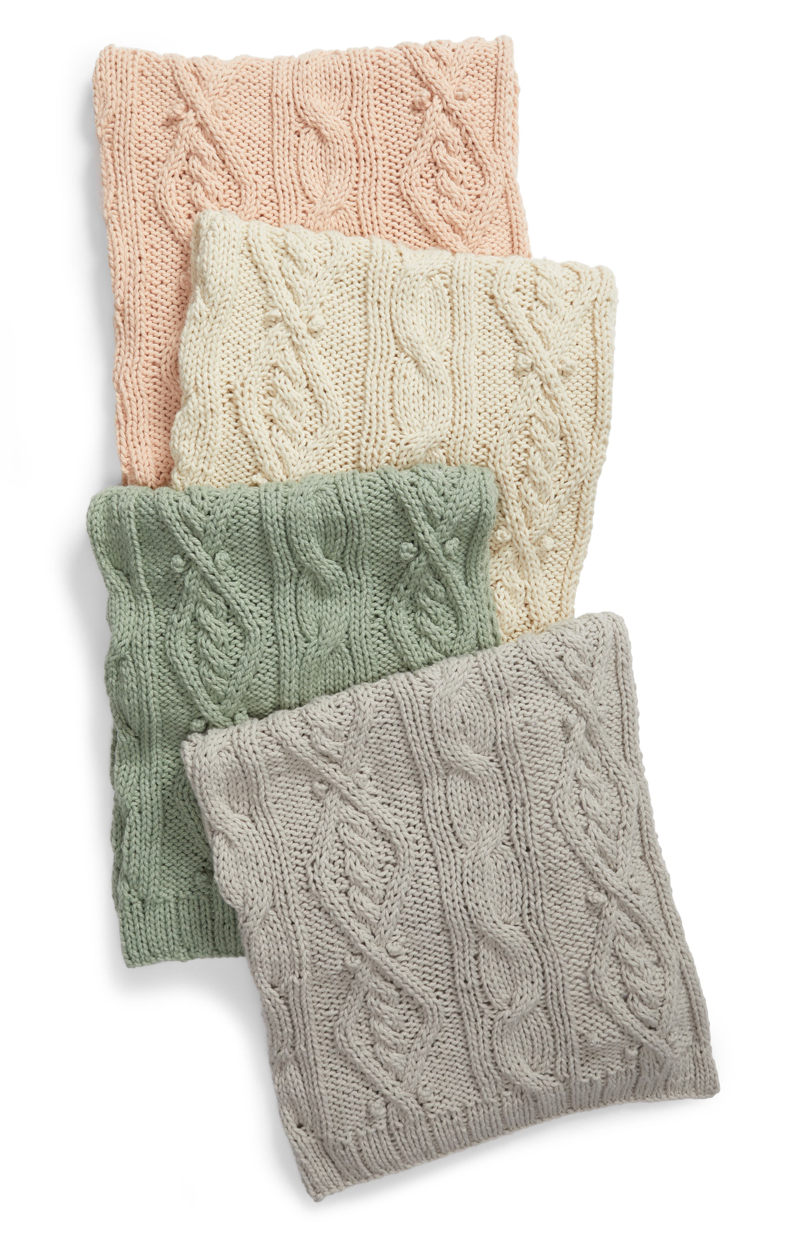 Chunky Cable Knit Throw Blanket,                             Alternate thumbnail 3, color,                             PINK HERO