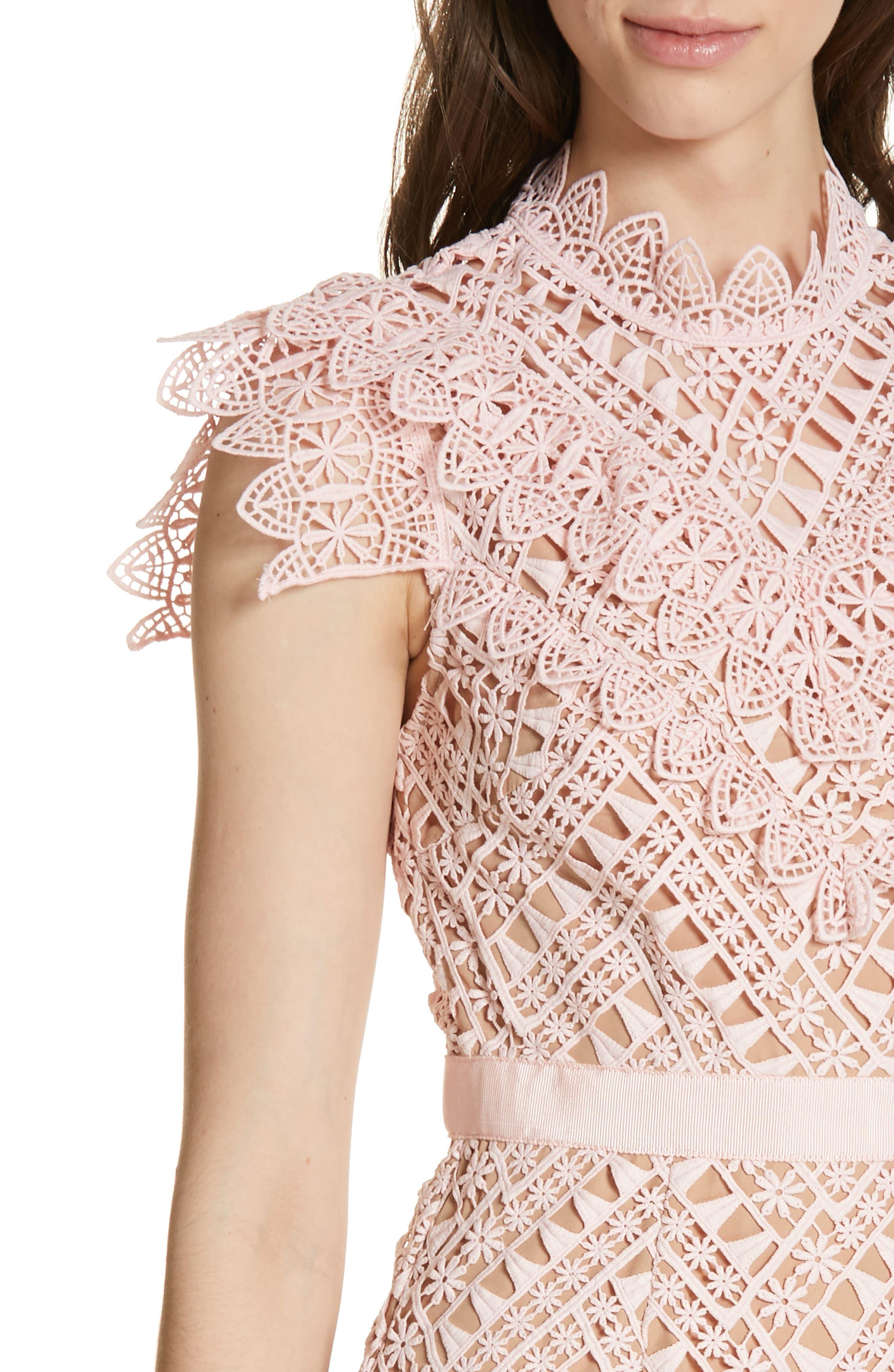 SELF-PORTRAIT,                             Triangle Lace Minidress,                             Alternate thumbnail 4, color,                             PINK