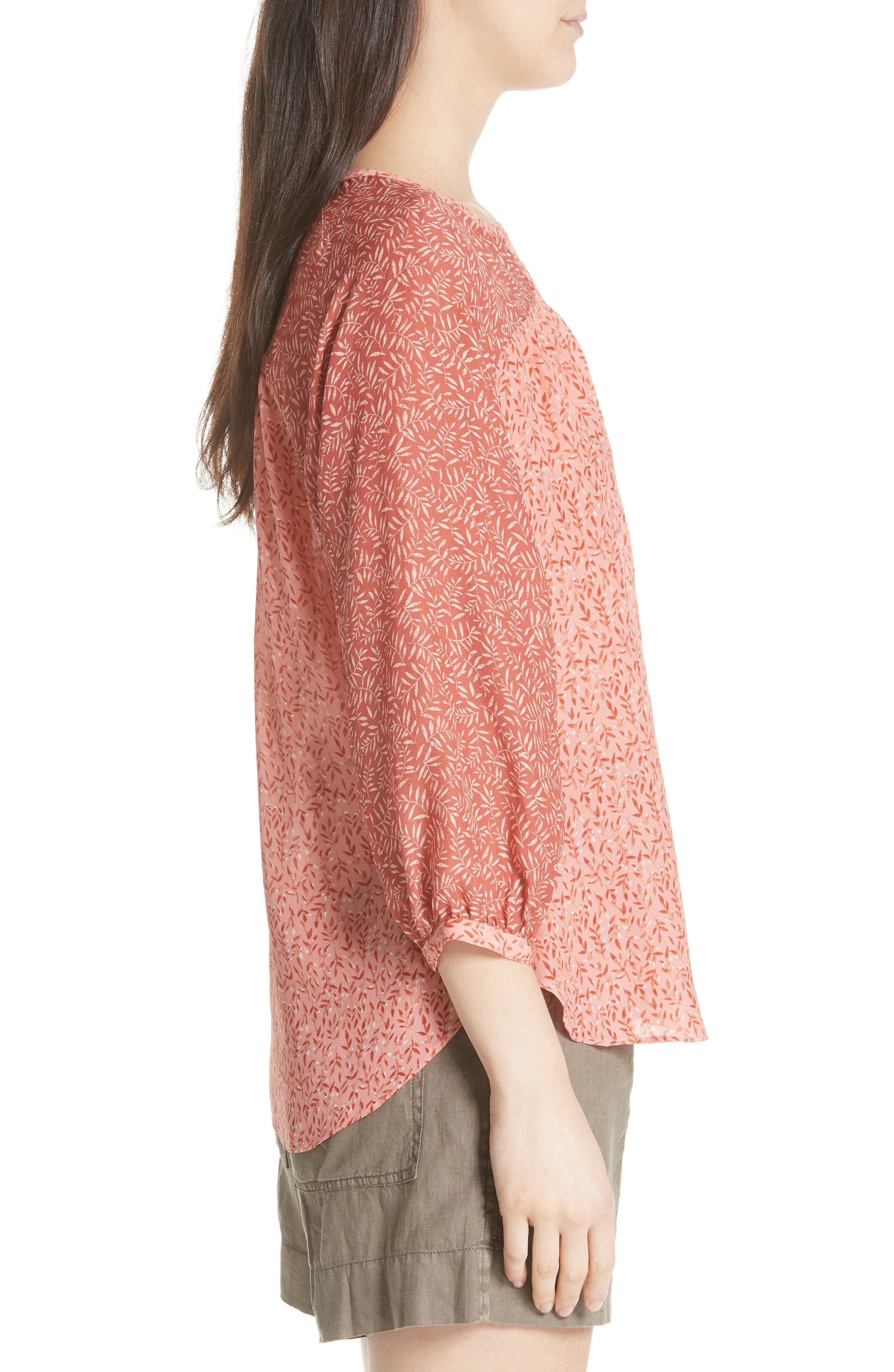JOIE,                             Jafeth Reverse Pattern Silk Peasant Top,                             Alternate thumbnail 3, color,                             609