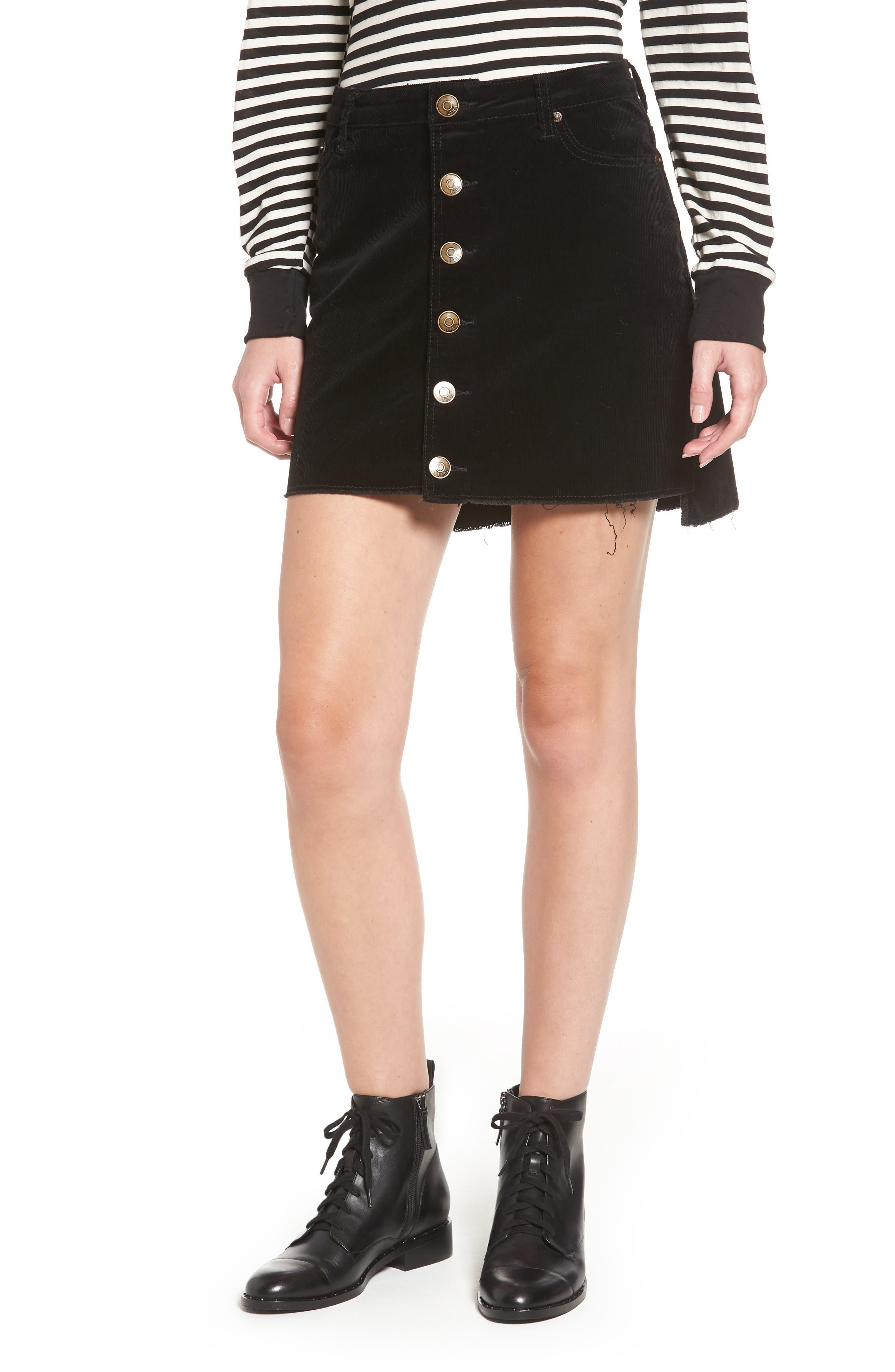Lira Clothing Mia Cutoff Corduroy Skirt, Black