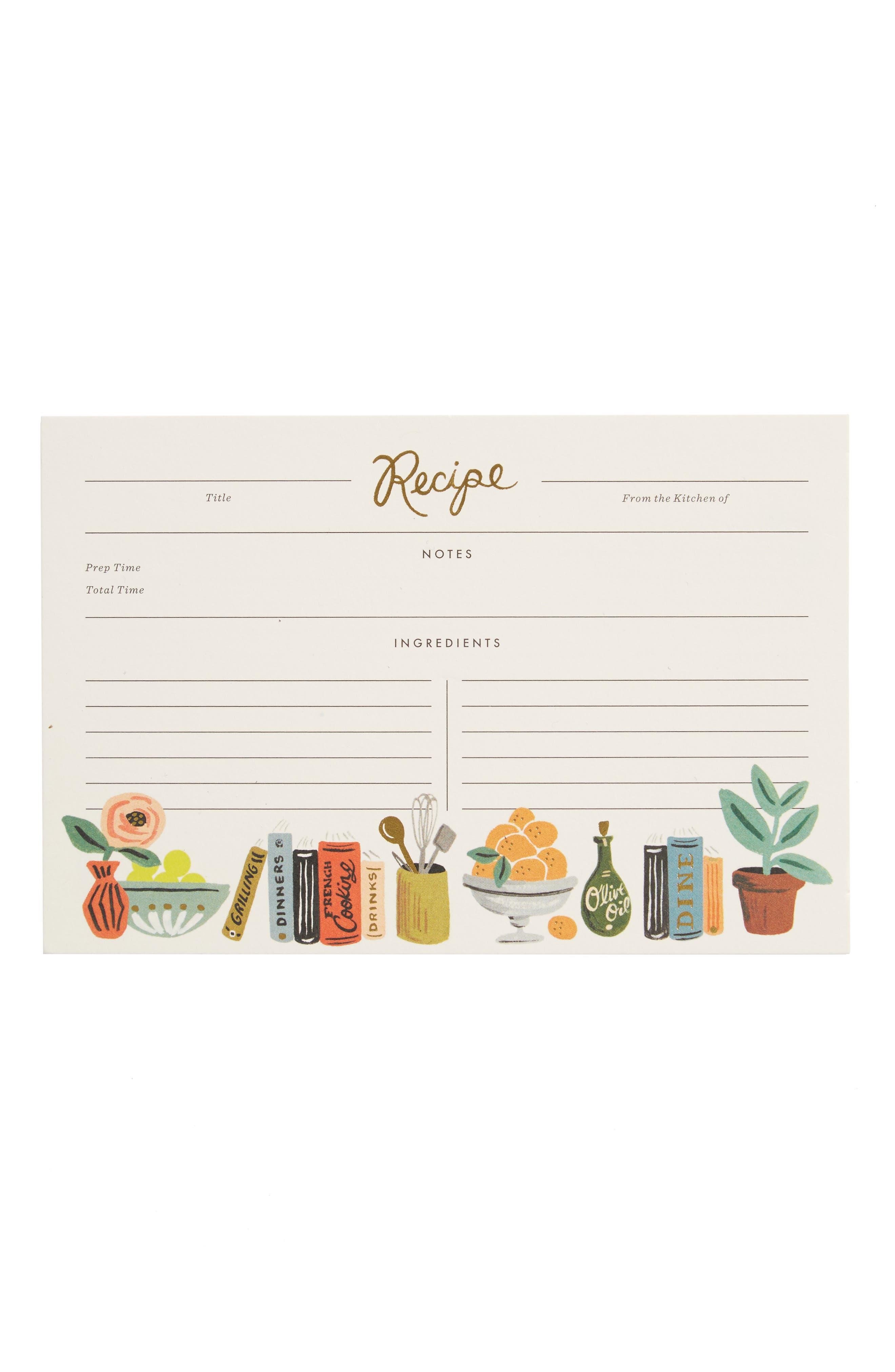 Kitchen Shelf 12-Pack Recipe Cards,                             Main thumbnail 1, color,                             100