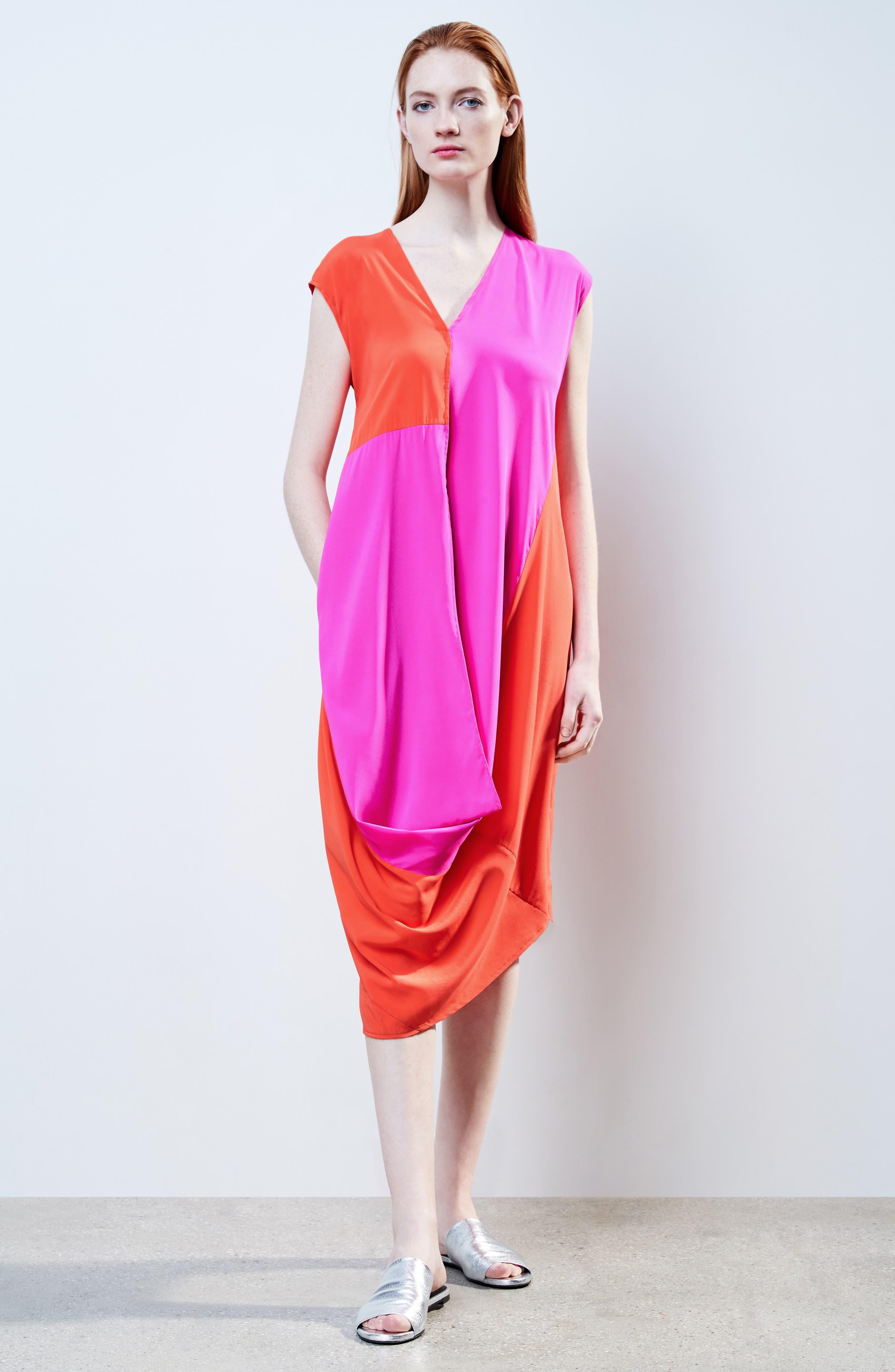 Colorblock Drape Silk Blend Dress,                             Alternate thumbnail 7, color,                             650