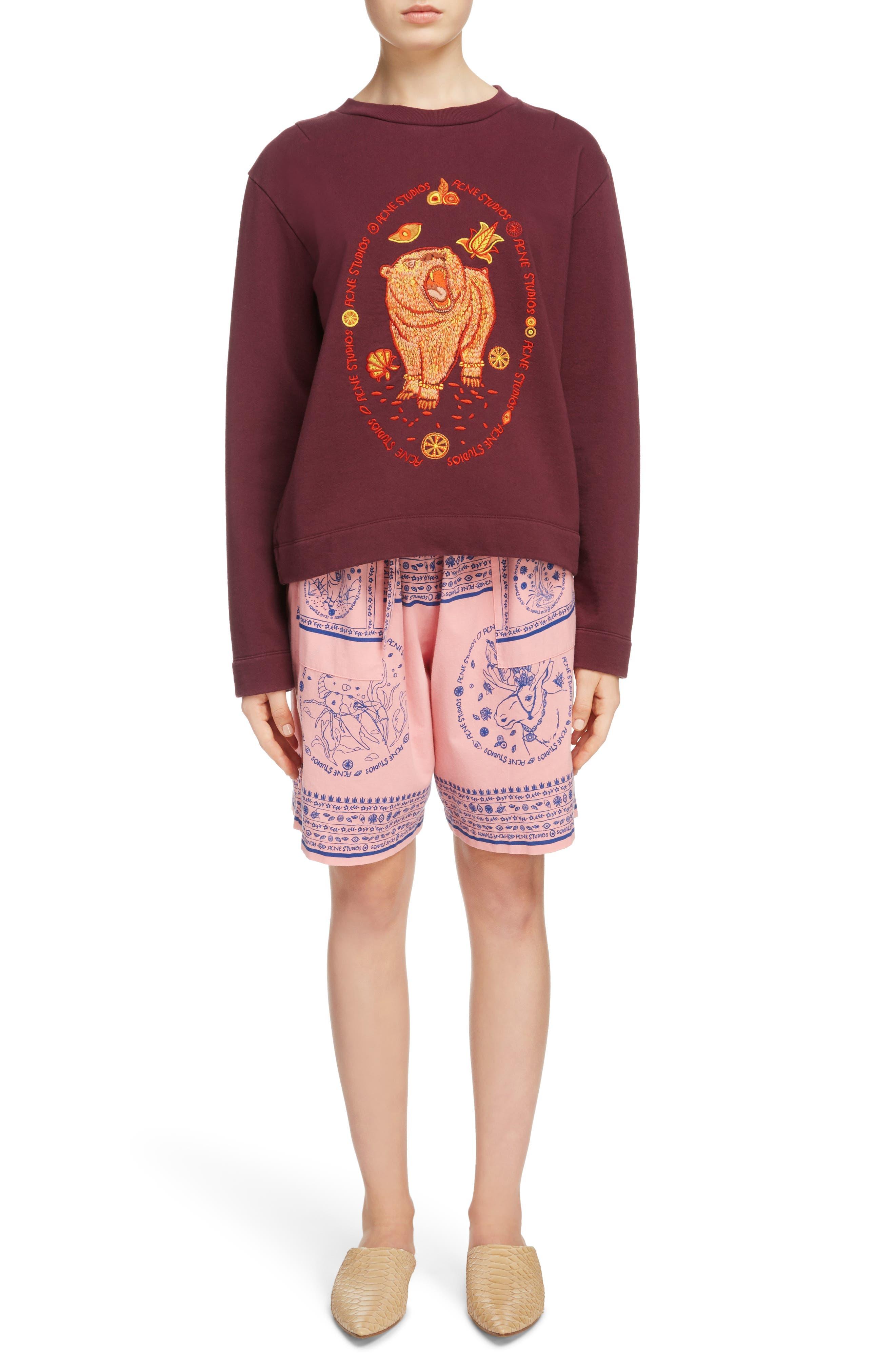 Oslavi Embroidered Bear Sweatshirt,                             Alternate thumbnail 7, color,