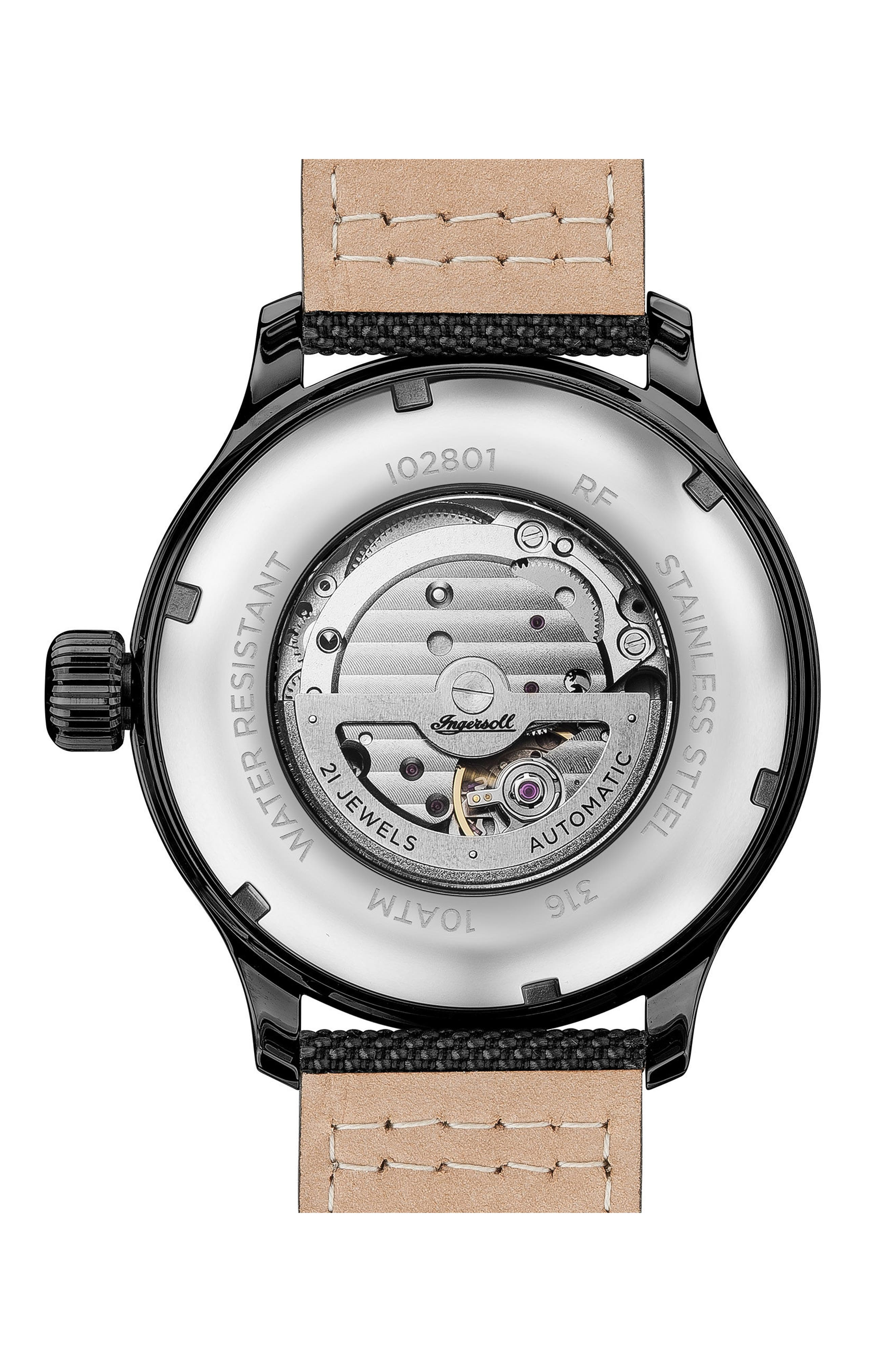 Ingersoll Apsley Automatic Nylon Strap Watch, 45mm,                             Alternate thumbnail 2, color,                             001