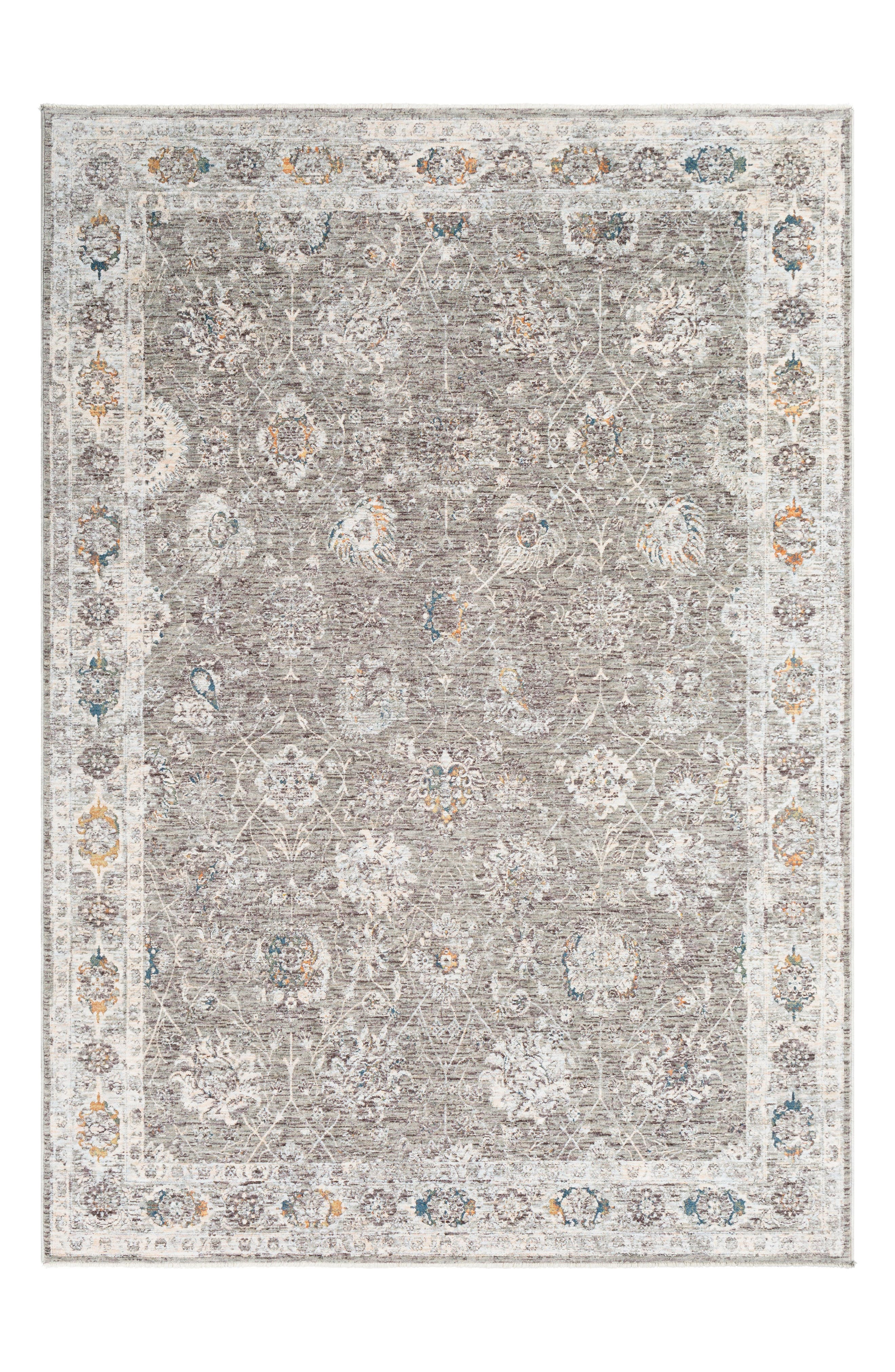 Presidential Floral Border Area Rug,                             Main thumbnail 1, color,                             LIME