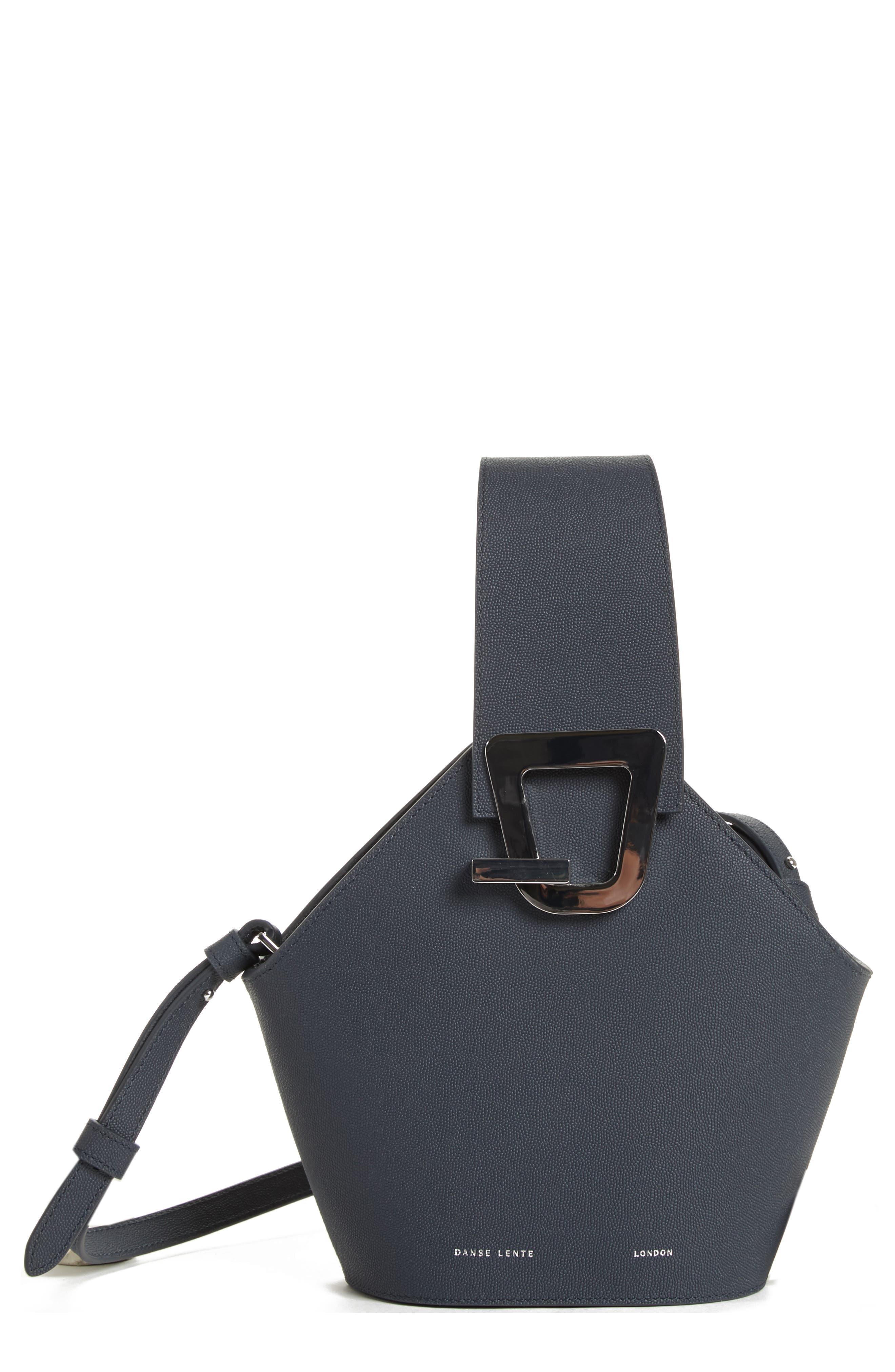 Mini Johnny Leather Bucket Bag, Main, color, MARINE