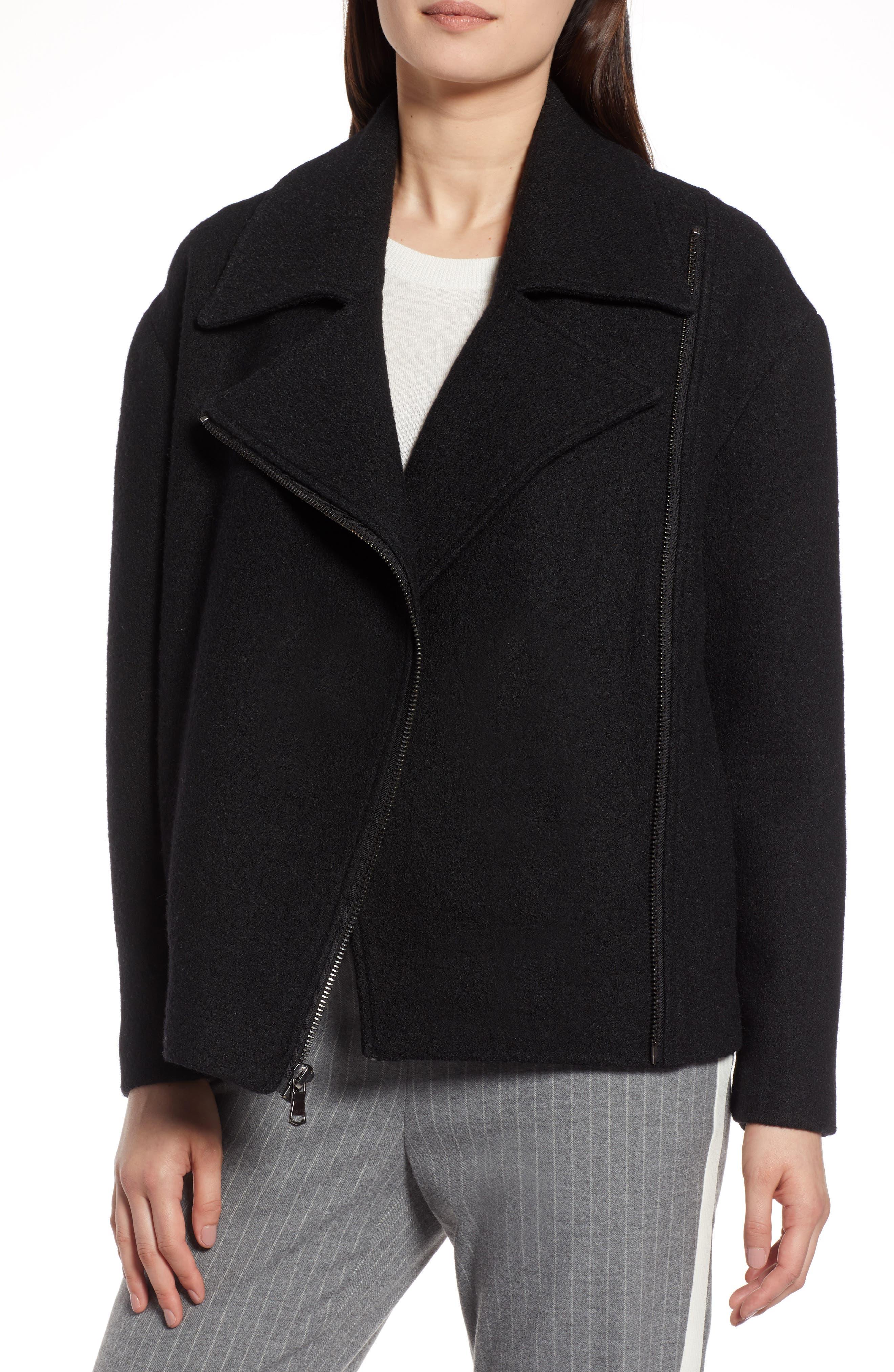 Boiled Wool Blend Moto Jacket,                         Main,                         color, 001