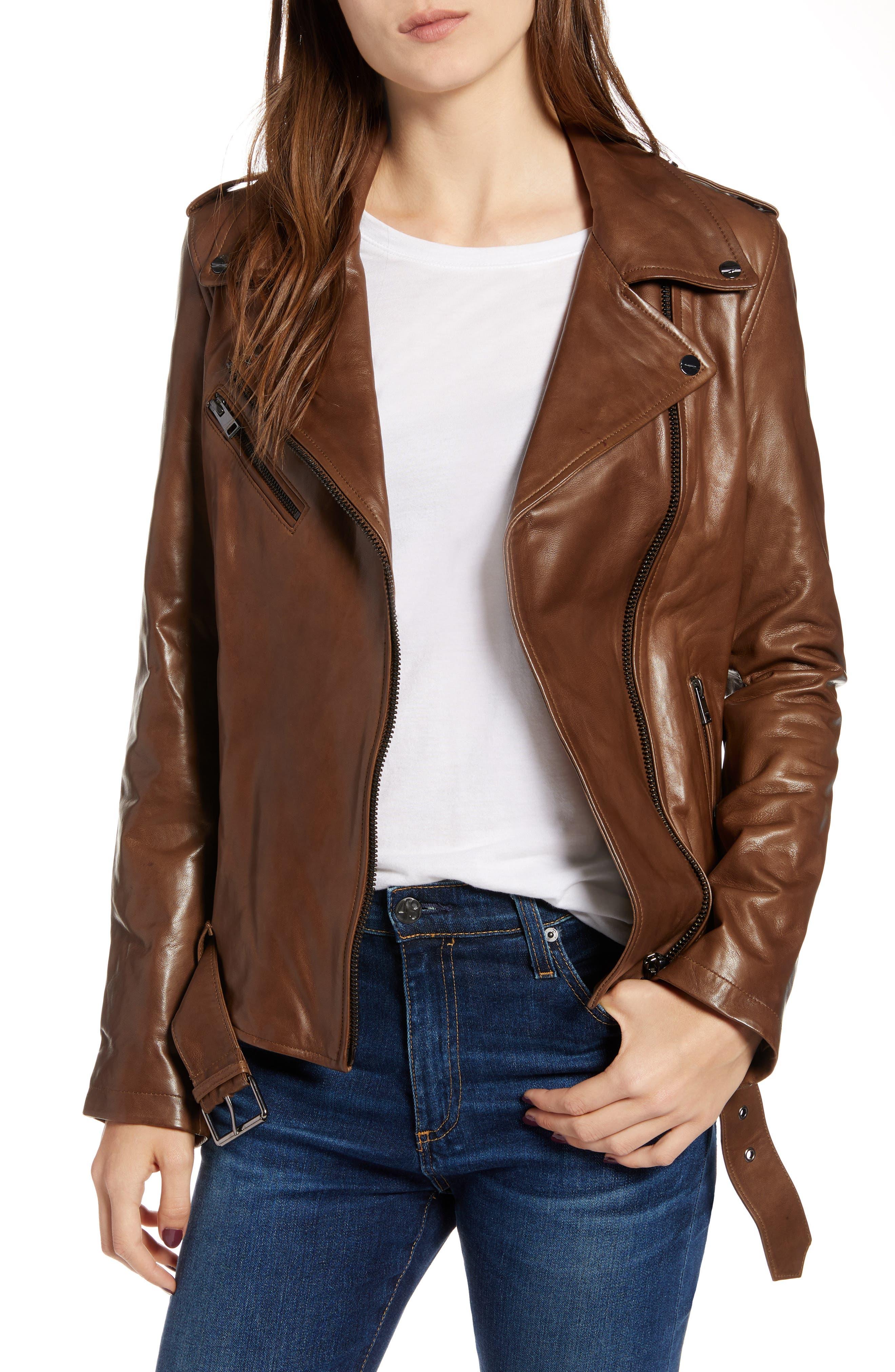 LAMARQUE Belted Leather Biker Jacket in Dark Sand
