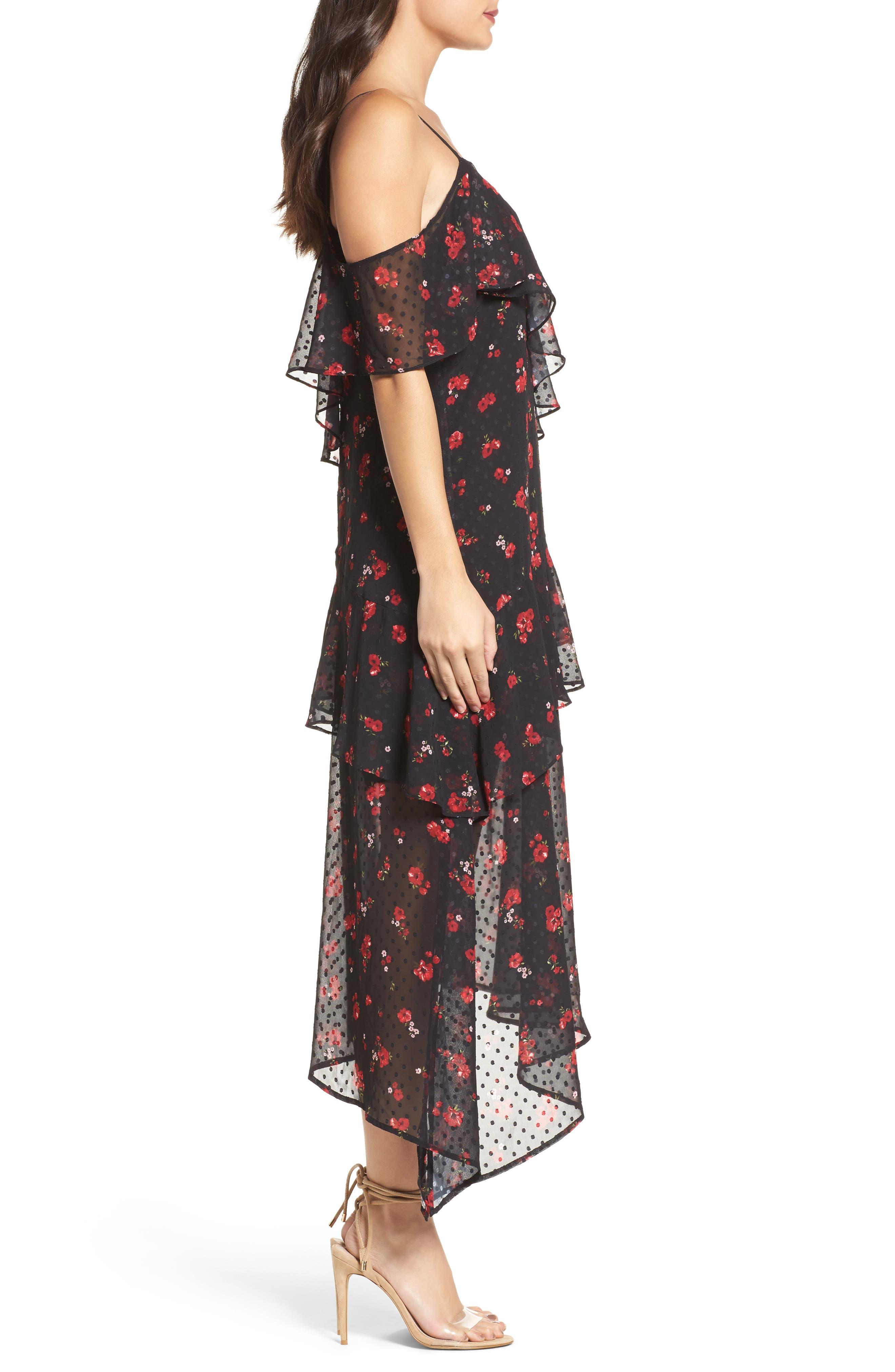 Poppy Ruffle Cold Shoulder Dress,                             Alternate thumbnail 3, color,                             008