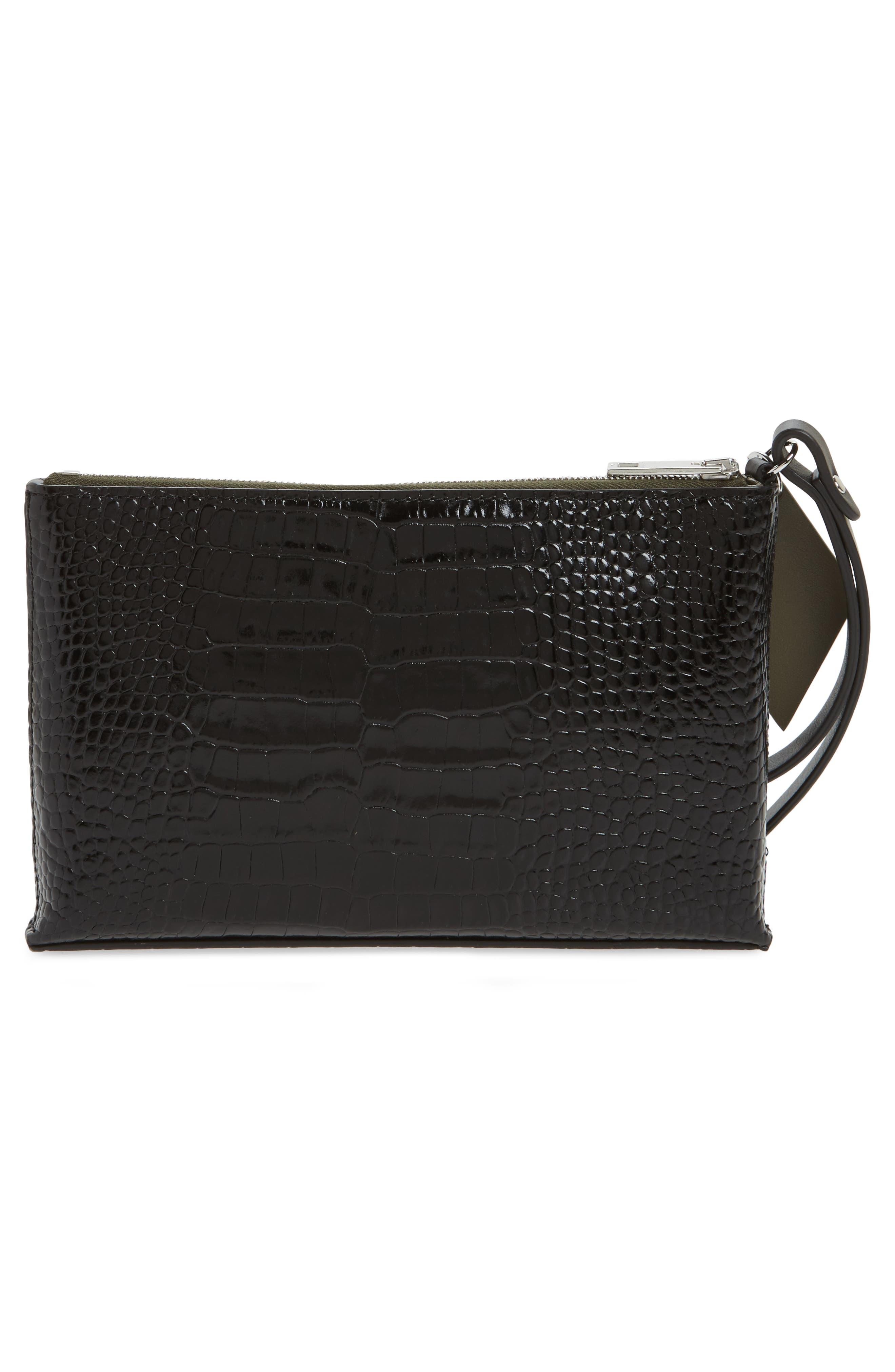 Croc Embossed Leather Wristlet,                             Alternate thumbnail 3, color,                             BLACK CROCO