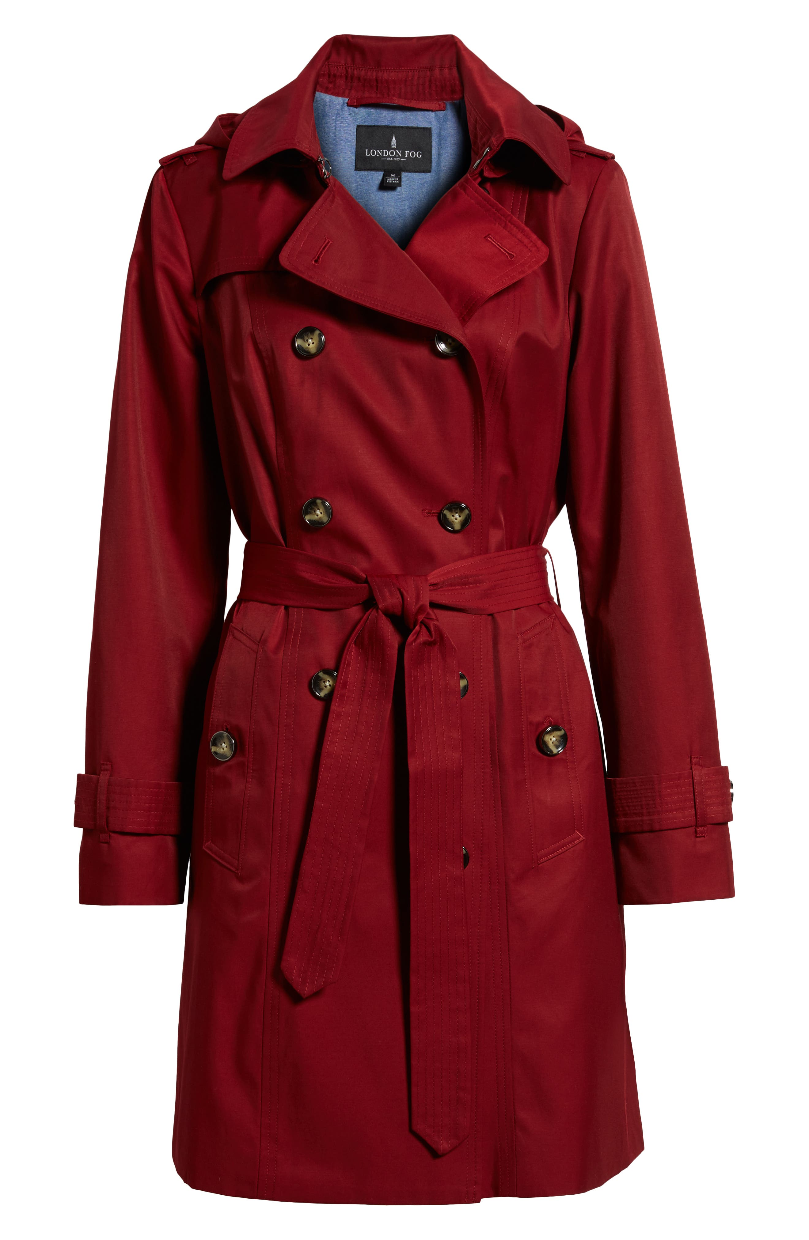 Double Breasted Trench Coat,                             Alternate thumbnail 6, color,                             RED