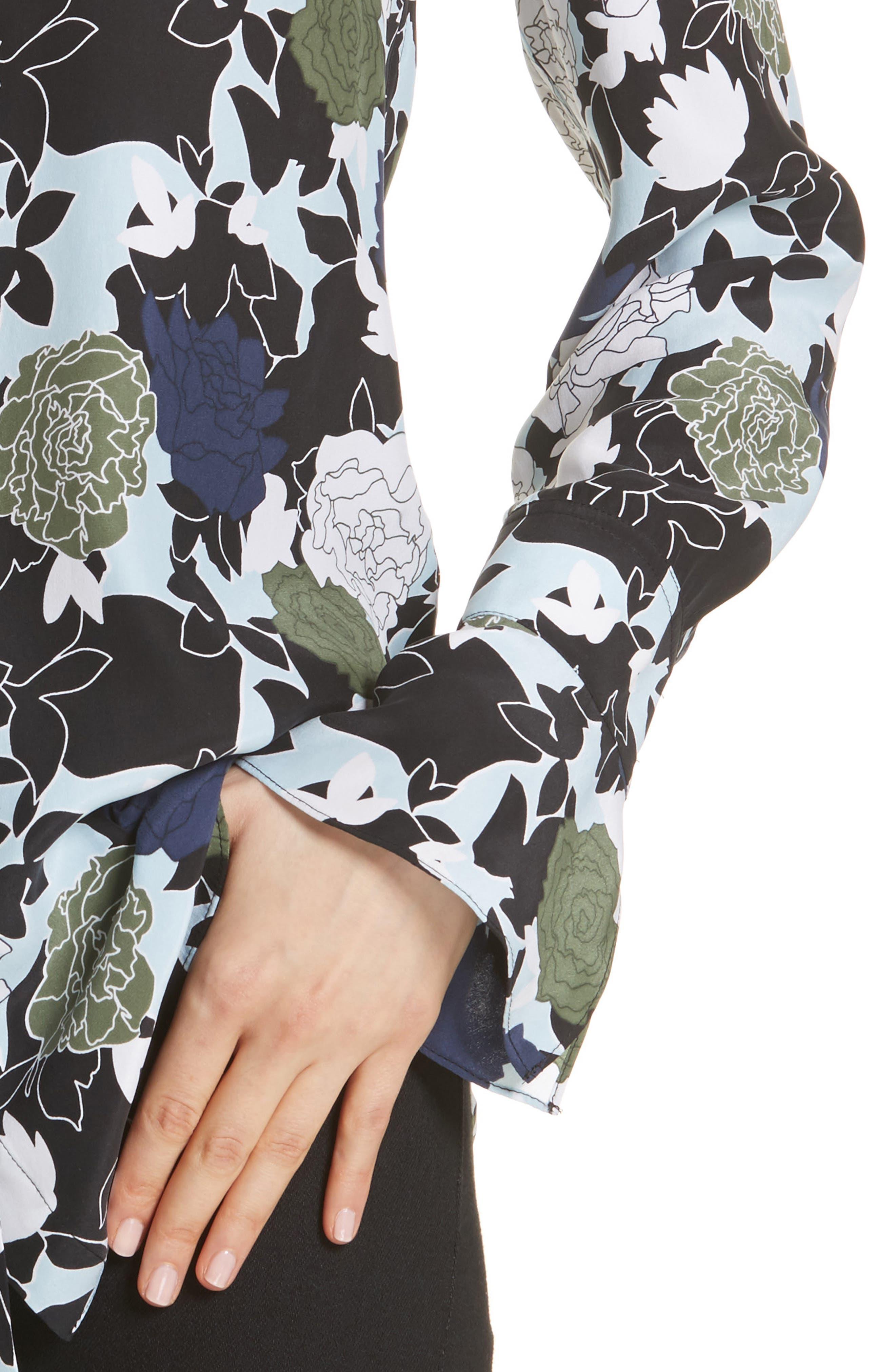 Daphne Floral Silk Shirt,                             Alternate thumbnail 4, color,                             COOL BREEZE MULTI