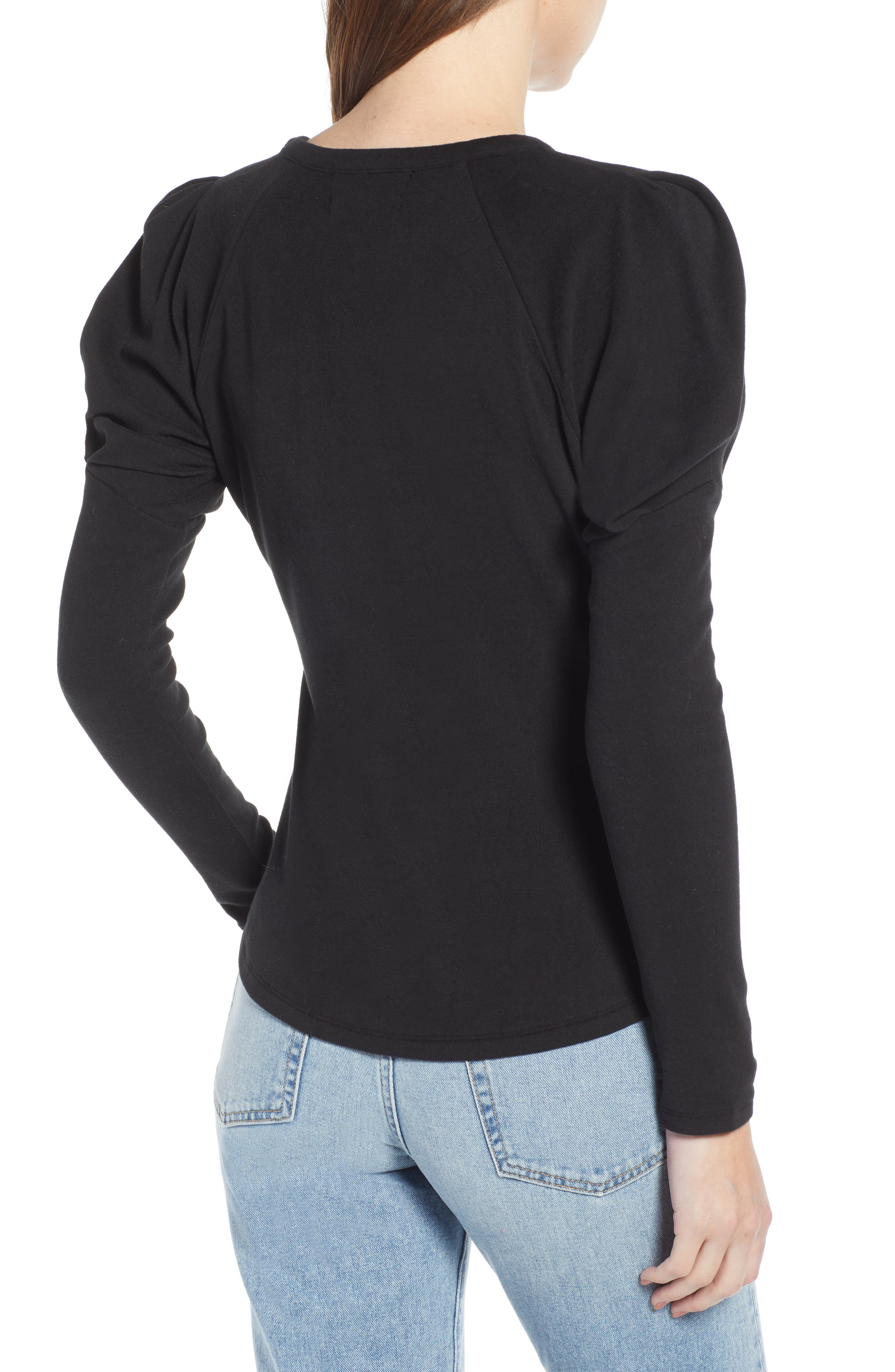 Puff Sleeve Stretch Cotton Tee,                             Alternate thumbnail 2, color,                             001