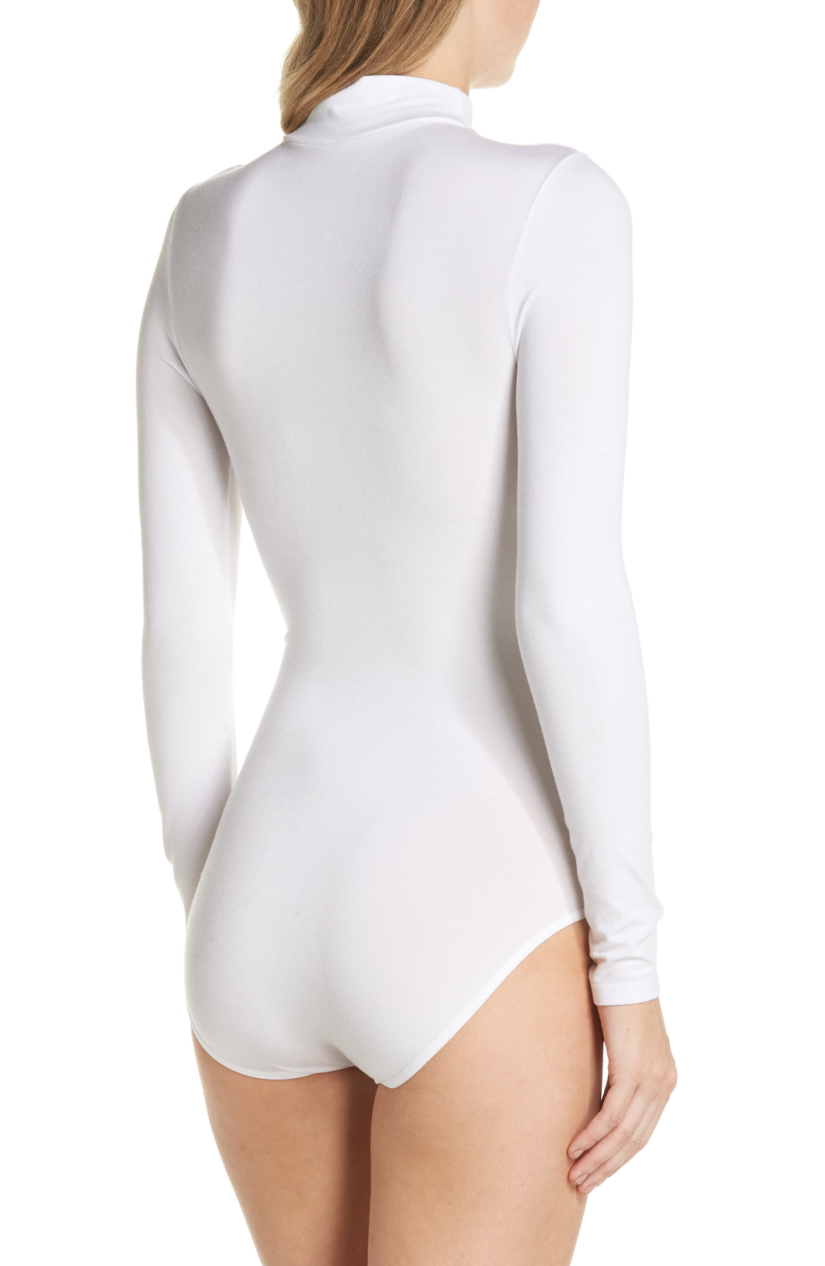 'Madelyn' Seamless Bodysuit,                             Alternate thumbnail 2, color,                             WHITE