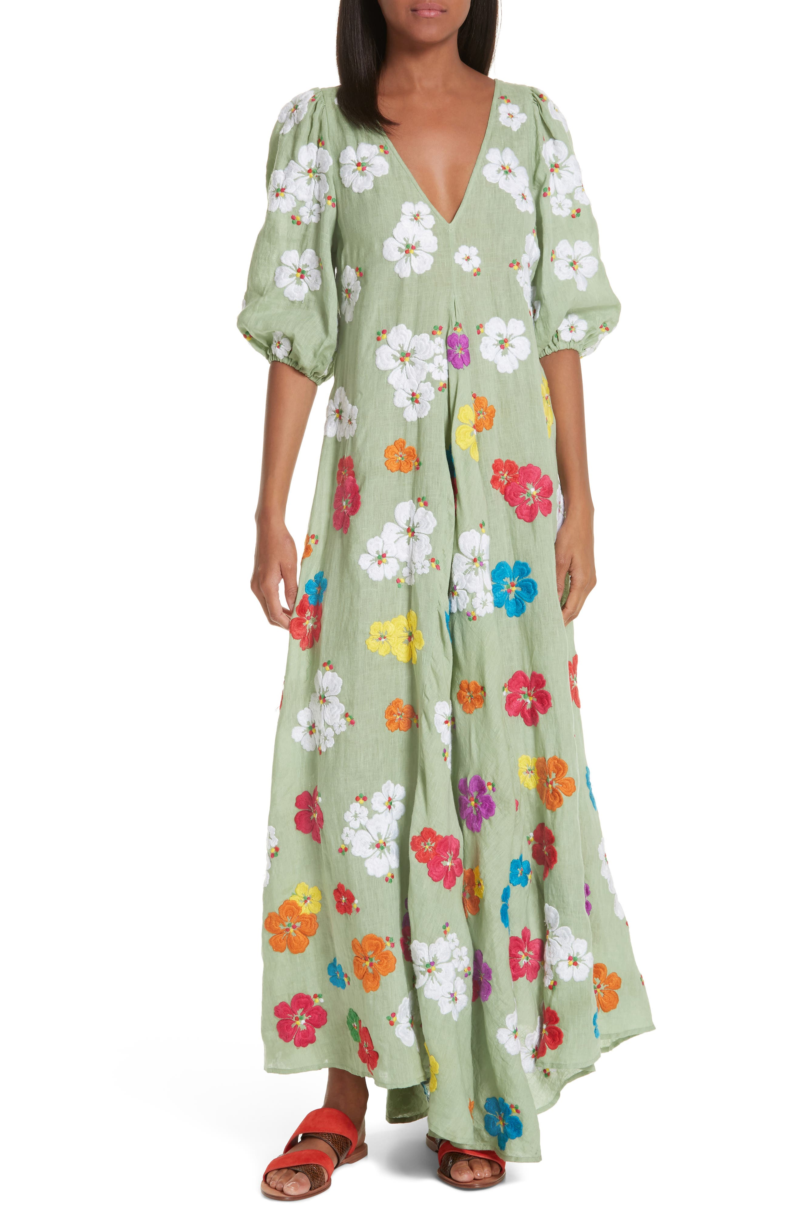 All Things Mochi Tila Embroidered Linen Maxi Dress, Green