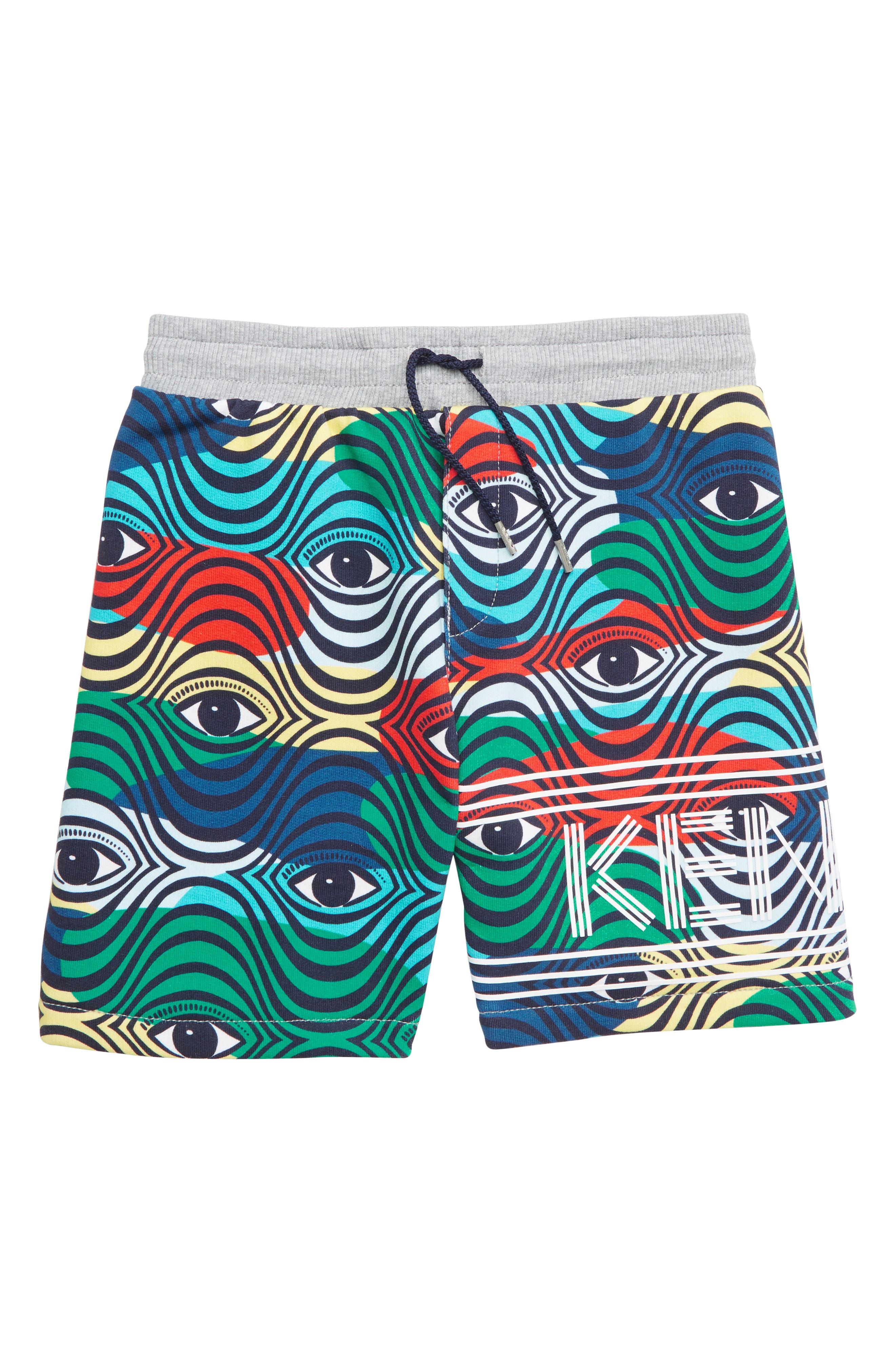 KENZO,                             Print Fleece Bermuda Shorts,                             Main thumbnail 1, color,                             MULTICOLORED