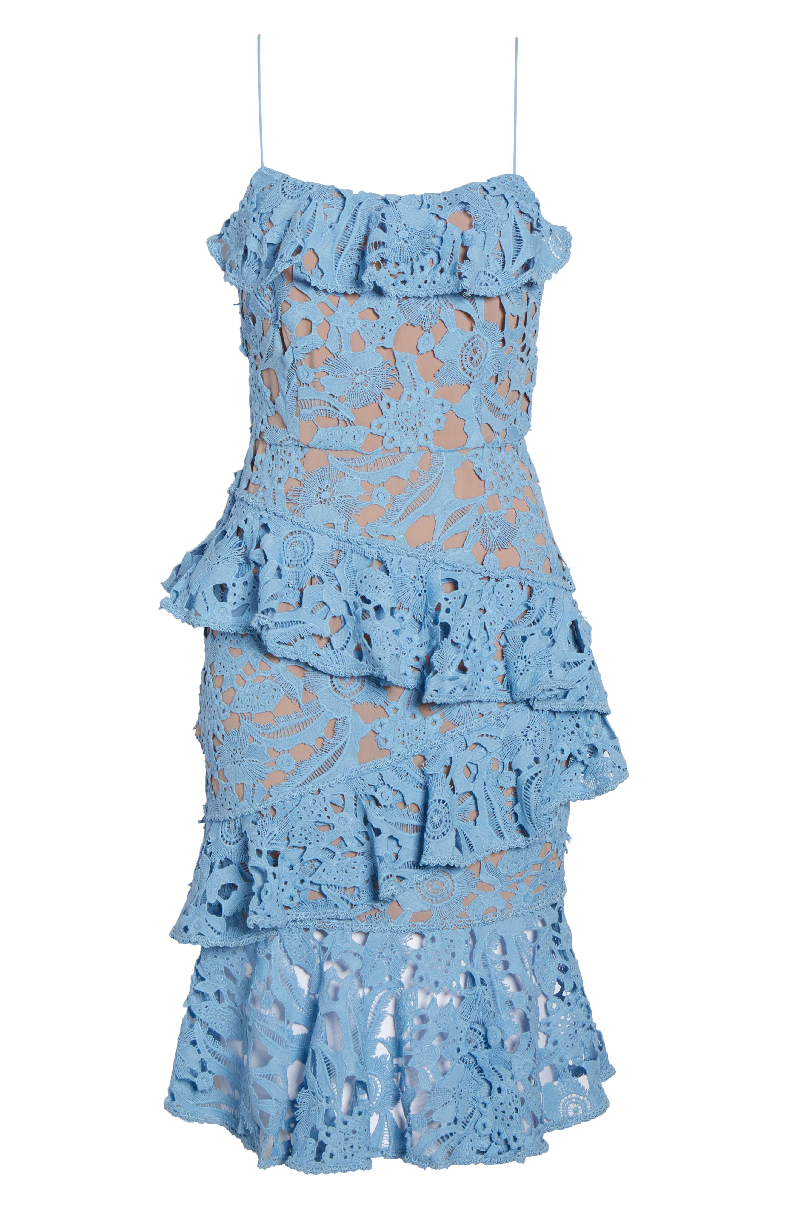 Lace Parfait Ruffle Dress,                             Alternate thumbnail 6, color,