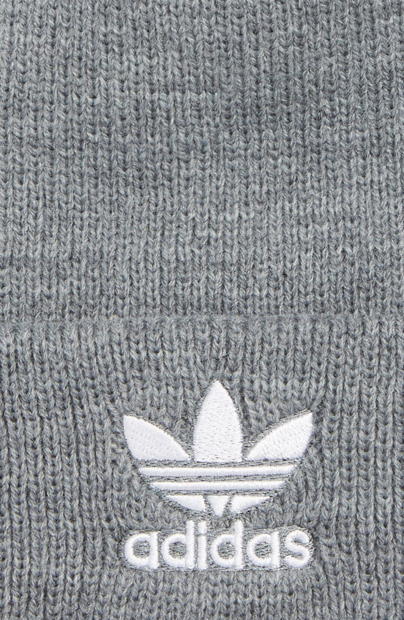 Embroidered Trefoil Beanie,                             Alternate thumbnail 2, color,                             HEATHER GREY/ WHITE