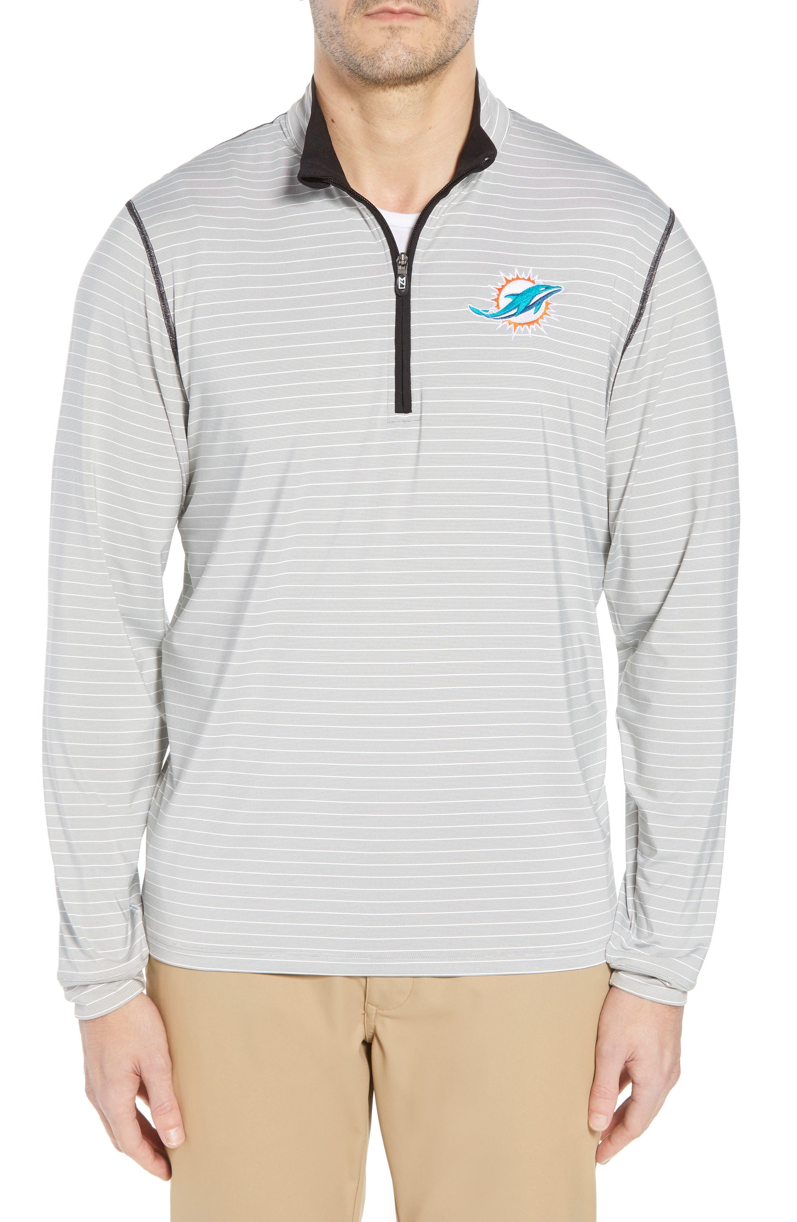 Meridian - Miami Dolphins Regular Fit Half Zip Pullover,                             Main thumbnail 1, color,                             BLACK