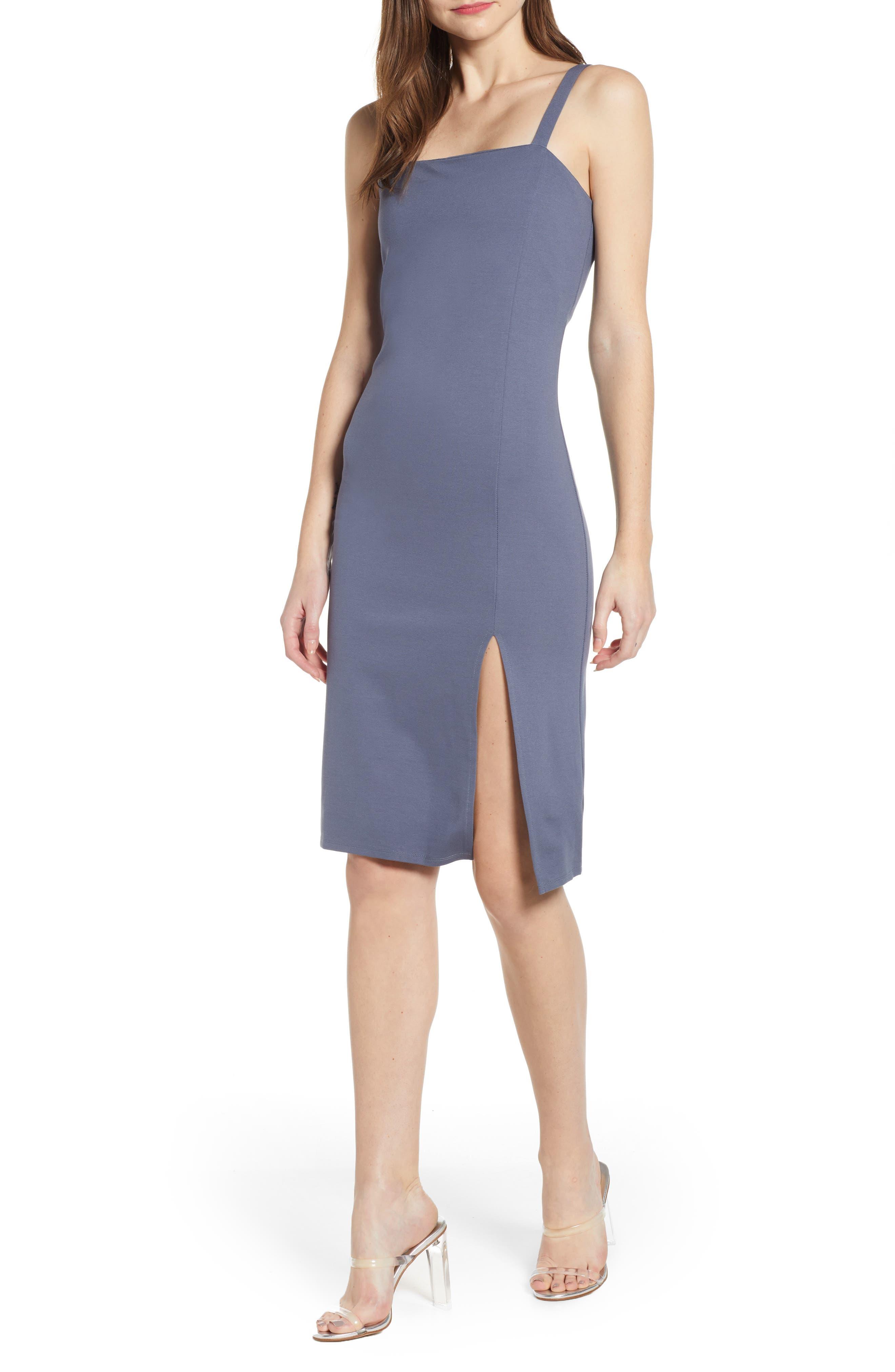 Leith Square Neck Sheath Dress, Grey