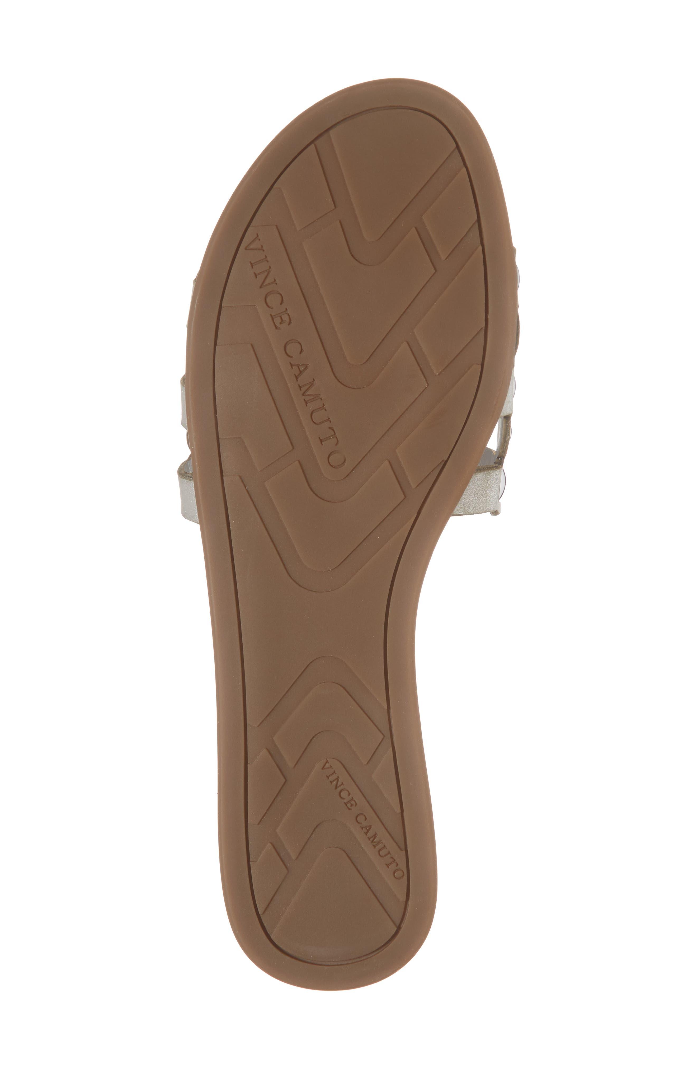 Ellanna Studded Slide Sandal,                             Alternate thumbnail 6, color,                             GLEAMING SILVER LEATHER