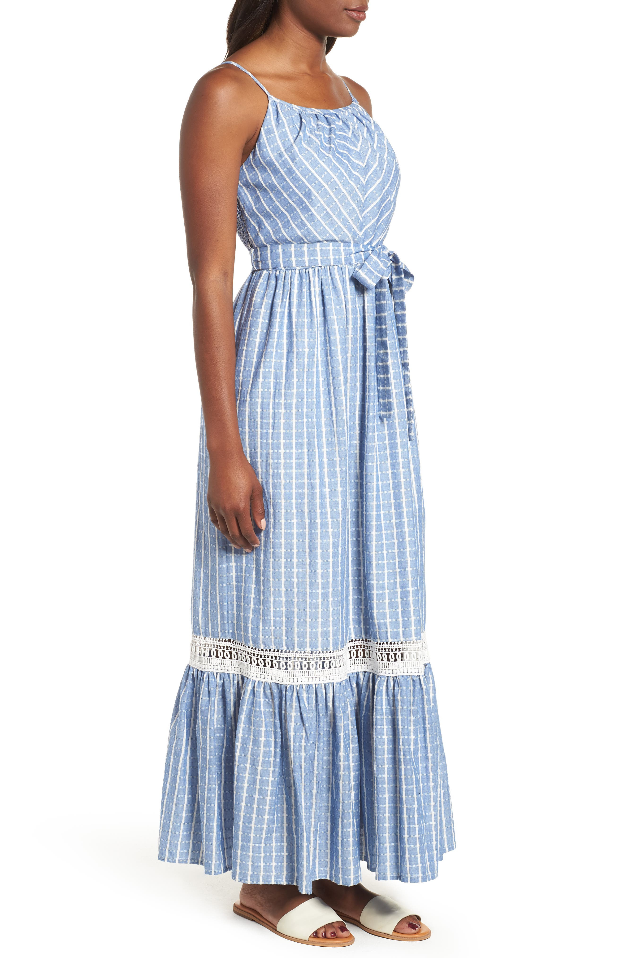 Tie Waist Cotton Maxi Dress,                             Alternate thumbnail 11, color,