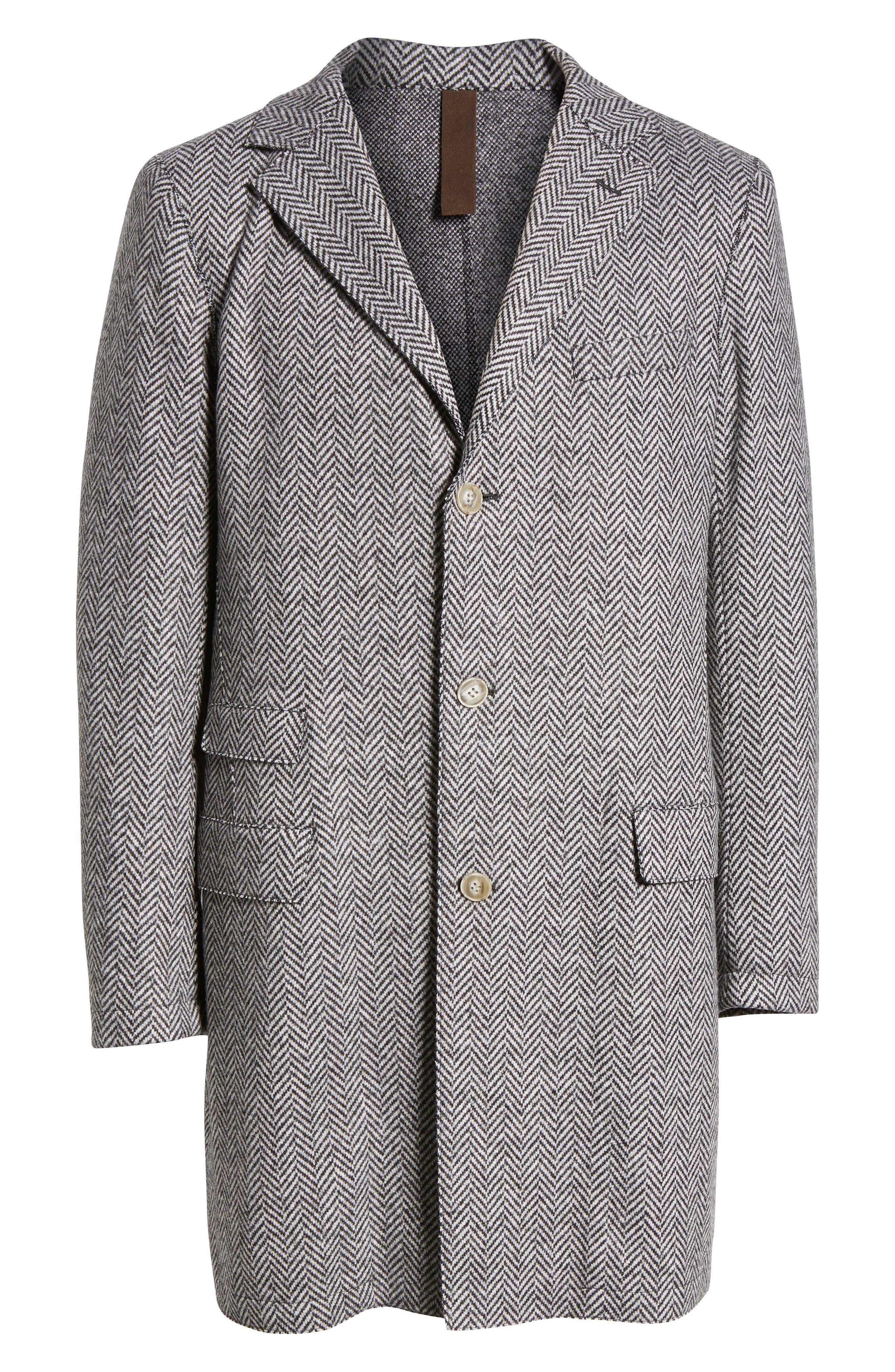 Trim Fit Wool Blend Top Coat,                             Alternate thumbnail 6, color,                             GREY