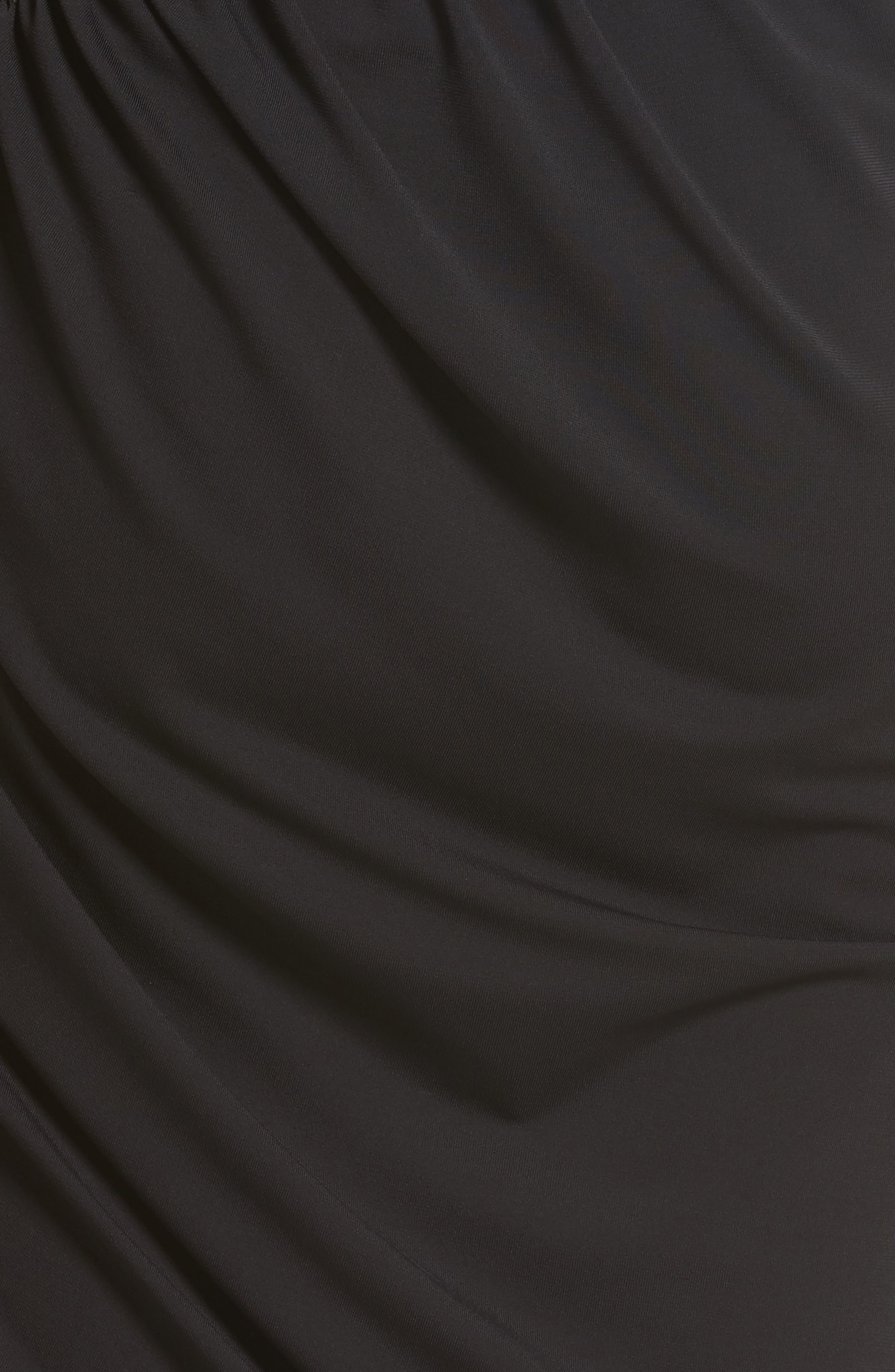 Leather Detail Draped One-Shoulder Dress,                             Alternate thumbnail 5, color,                             001