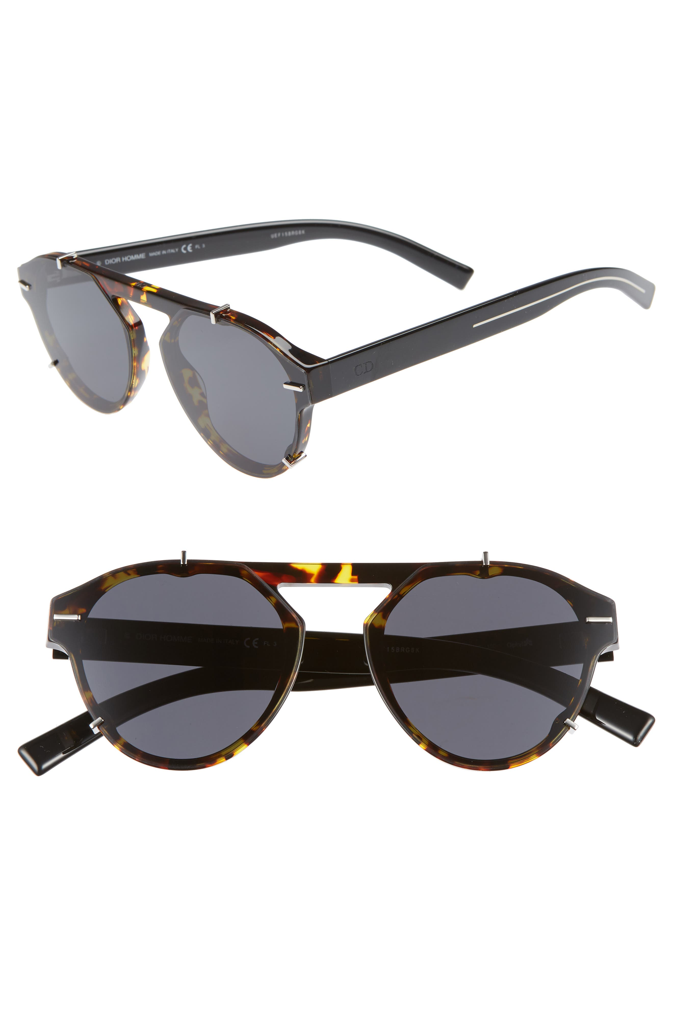 62mm Round Sunglasses,                             Main thumbnail 1, color,                             BLACK