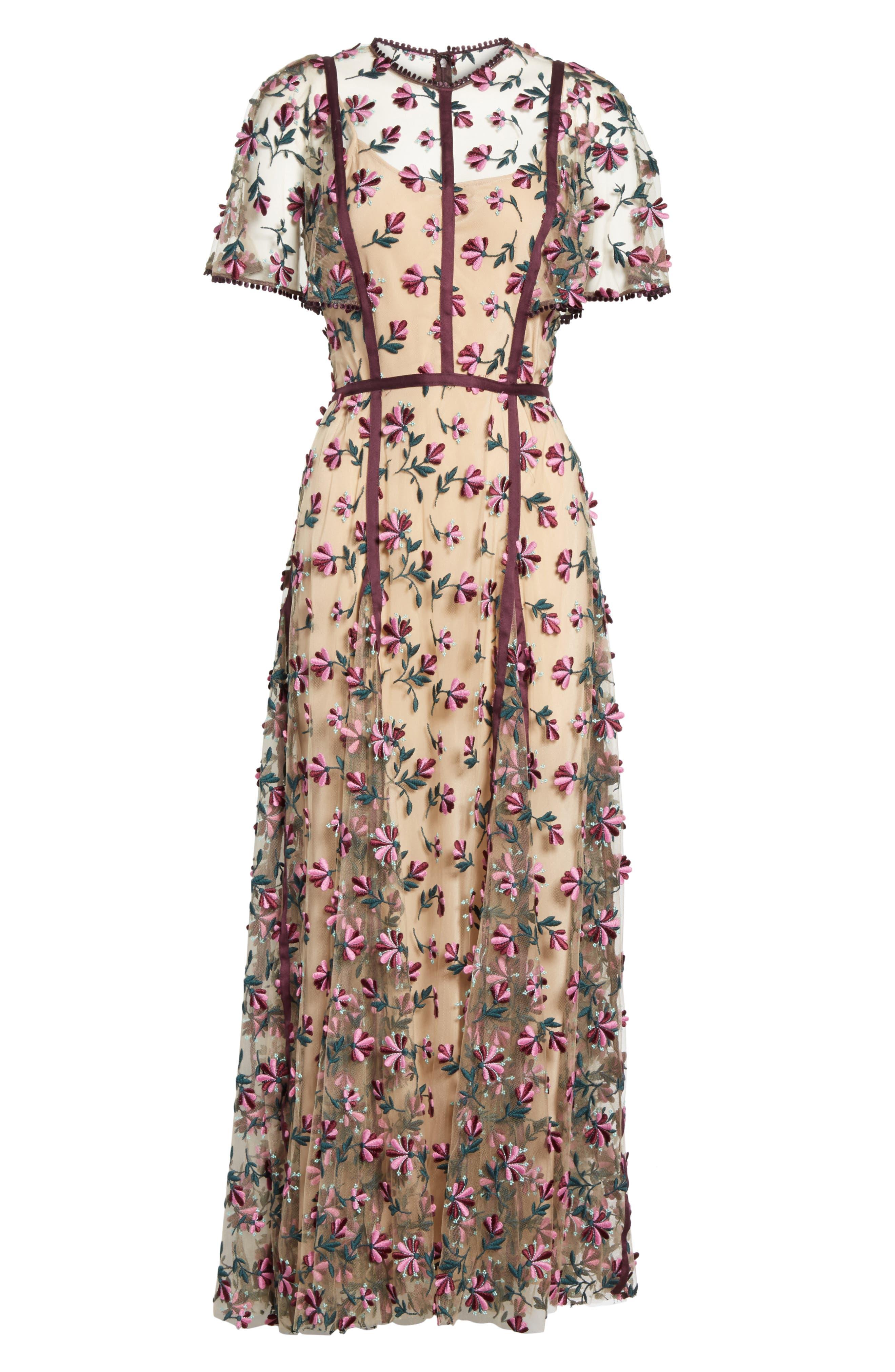 Embroidered Flutter Sleeve Midi Dress,                             Alternate thumbnail 6, color,                             537