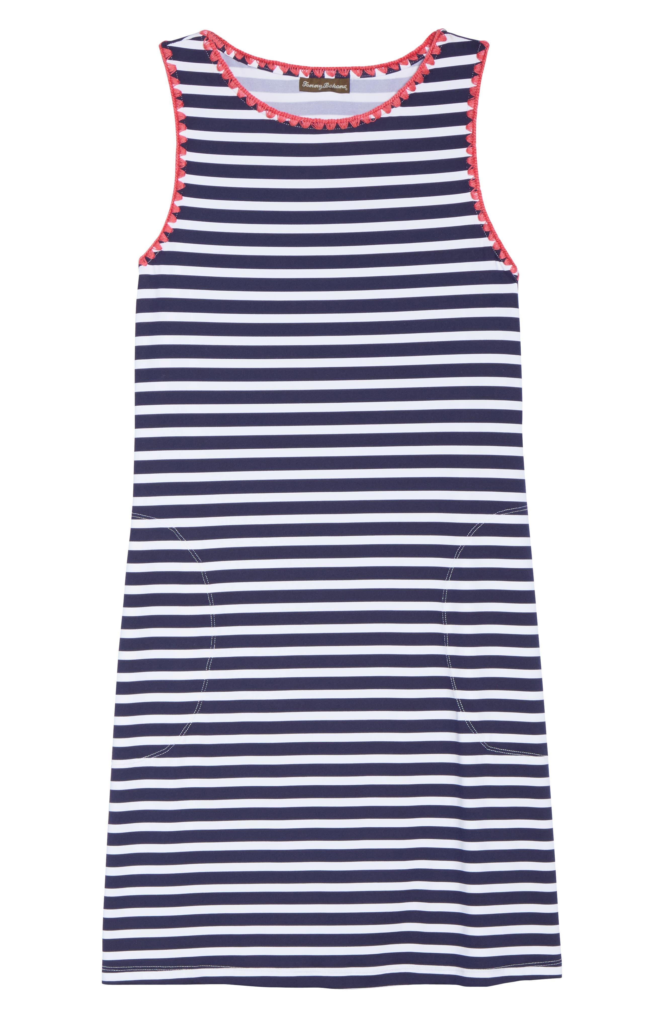 Breton Stripe Cover-Up Dress,                             Alternate thumbnail 6, color,                             MARE NAVY/ WHITE