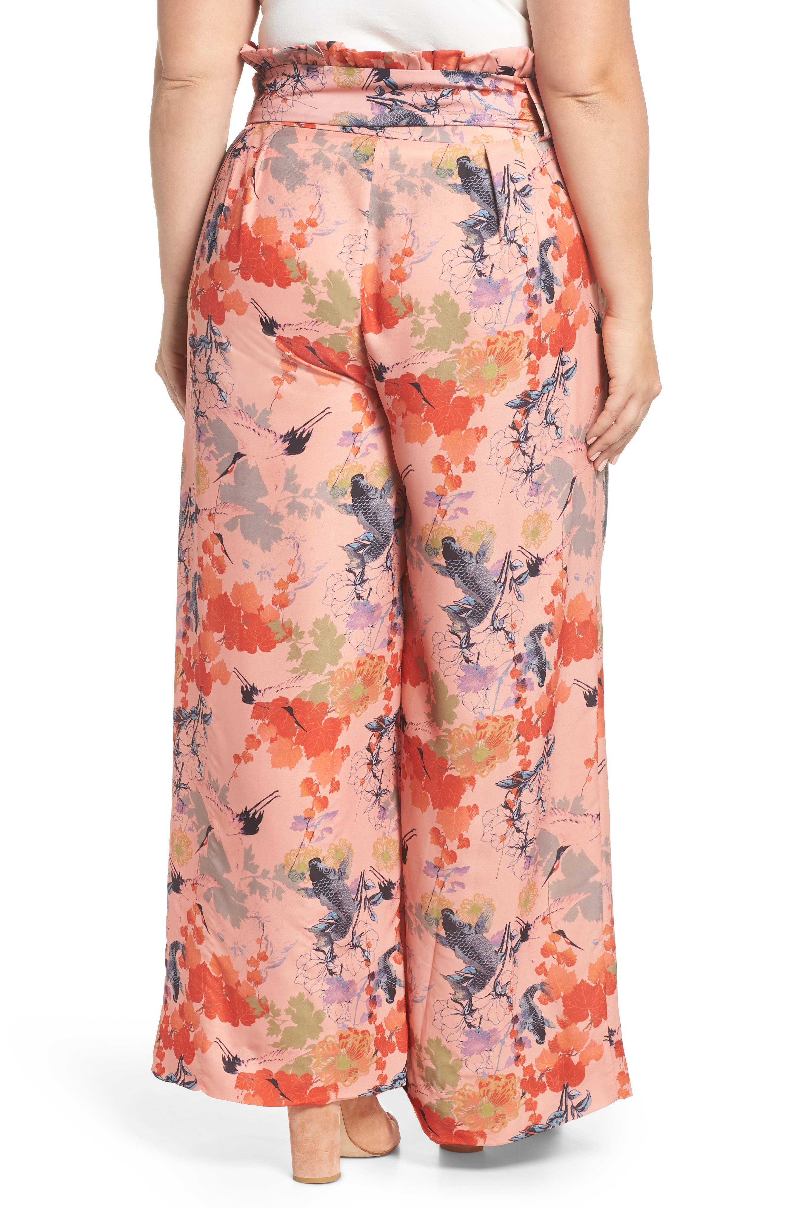 Print Belted Wide Leg Paperbag Trousers,                             Alternate thumbnail 2, color,
