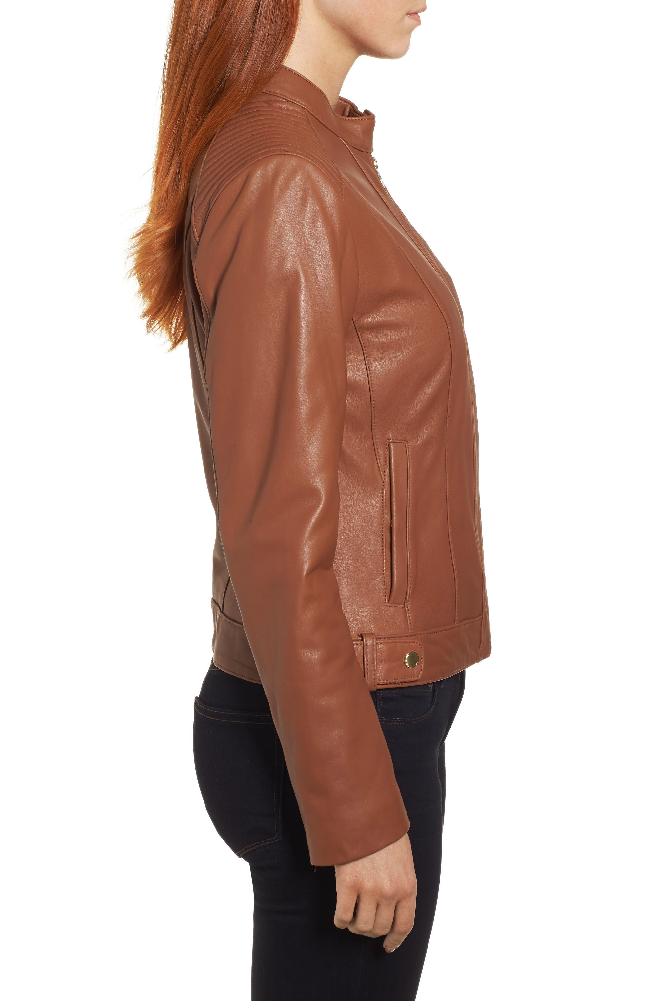 Leather Moto Jacket,                             Alternate thumbnail 3, color,                             NO_COLOR