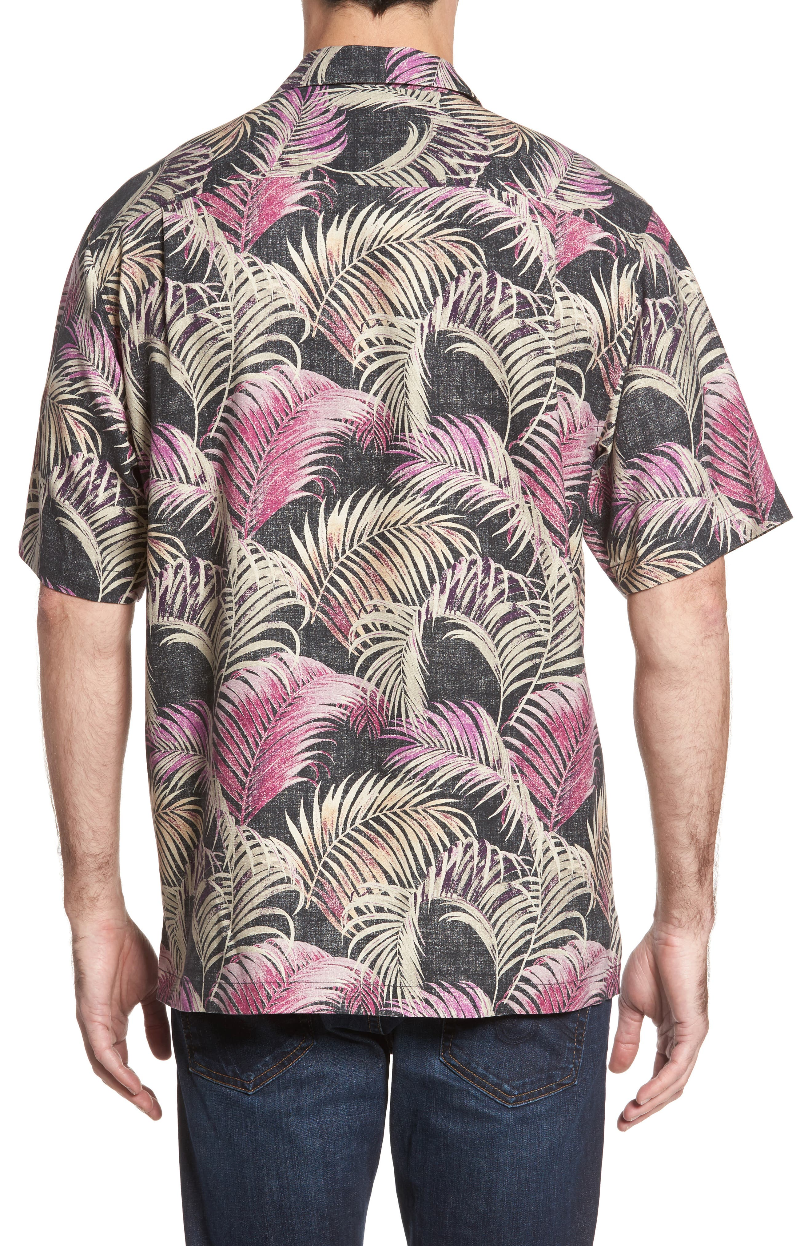 Fez Fronds Standard Fit Silk Camp Shirt,                             Alternate thumbnail 2, color,                             001