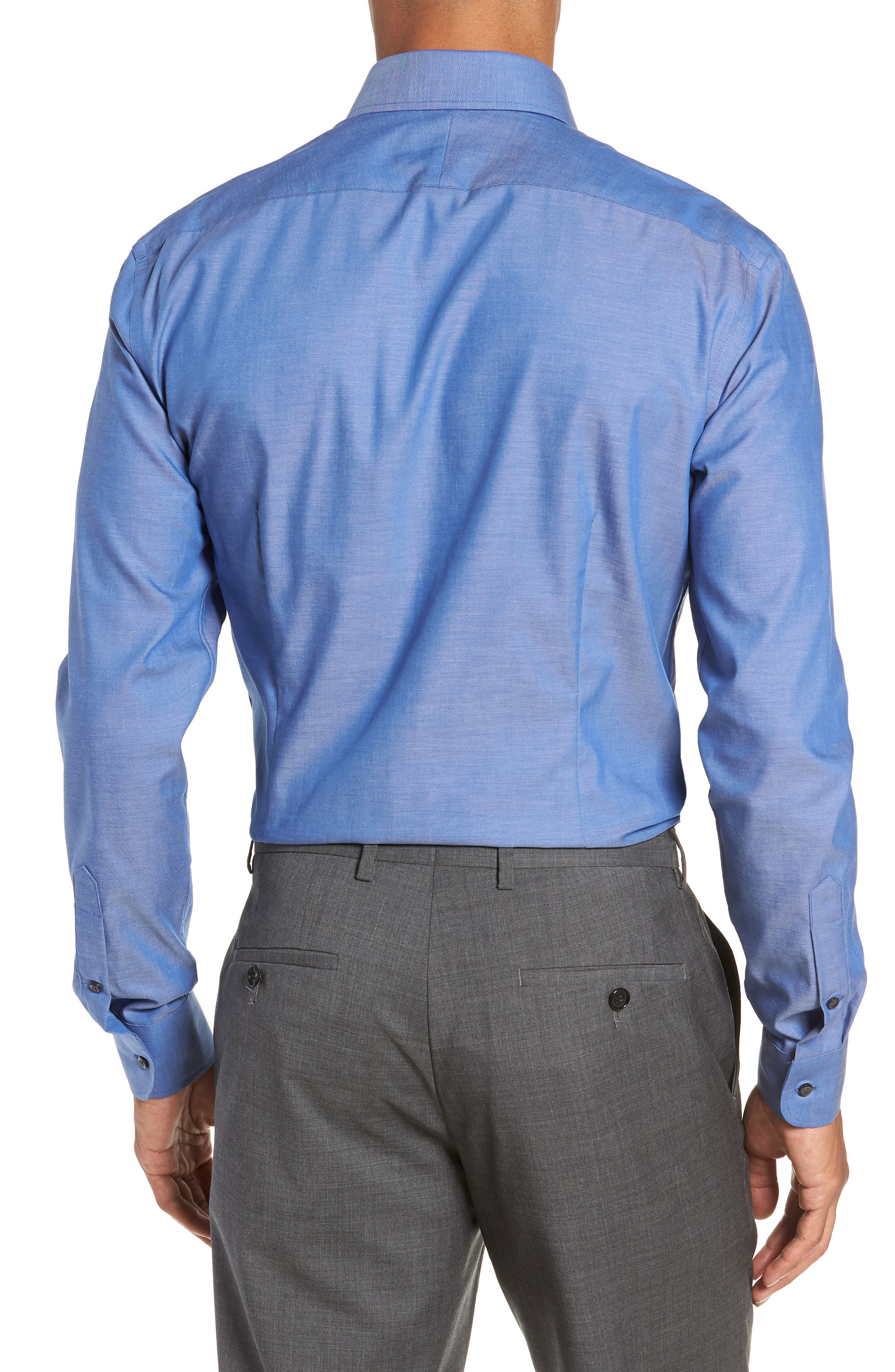 Extra Trim Fit Non-Iron Solid Dress Shirt,                             Alternate thumbnail 3, color,                             BLUE DENIM